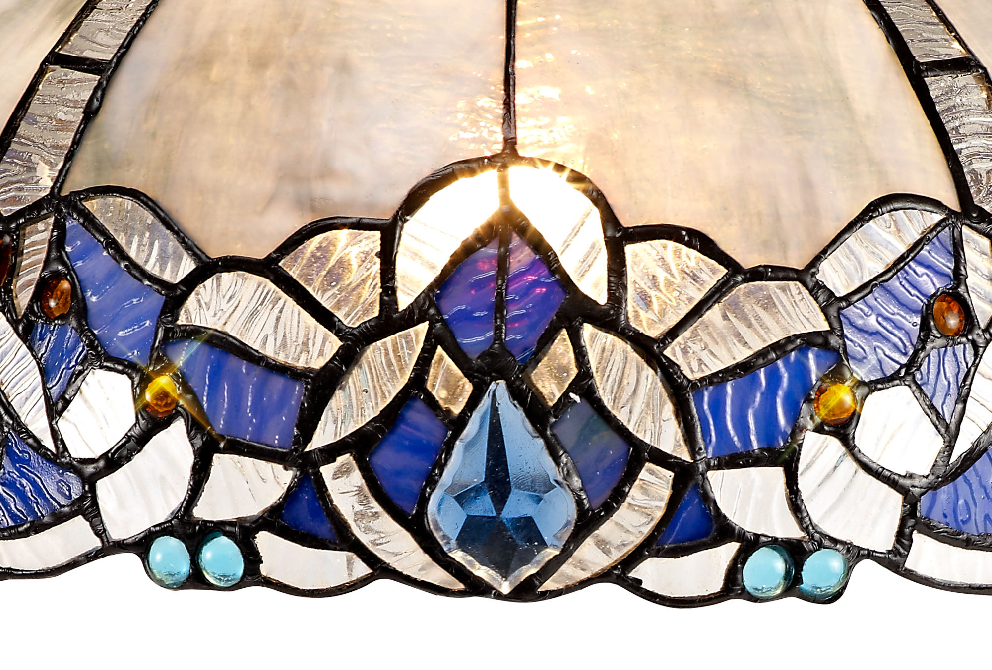 Tiffany 30cm Non-electric Shade Suitable For Pendant/Ceiling/Table Lamp, Blue/Clear Crystal