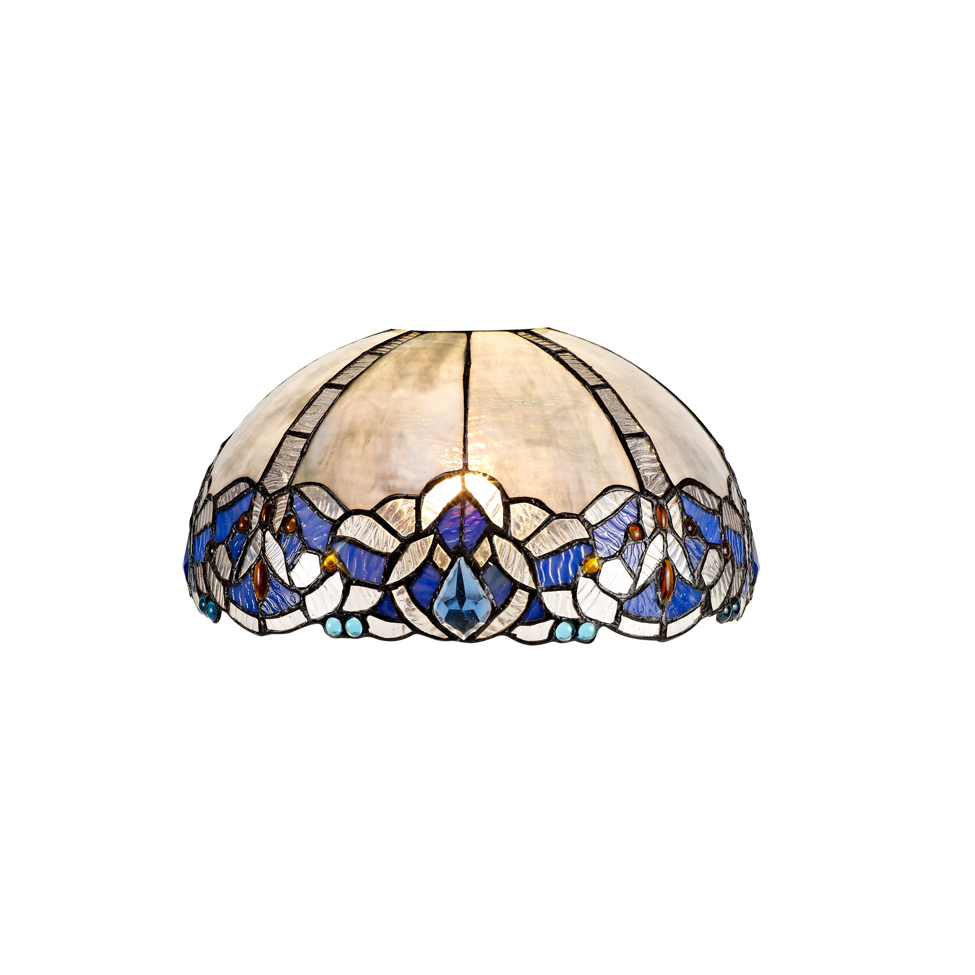 3 Light Semi Ceiling E27 With 30cm Tiffany Shade, Blue/Clear Crystal/Aged Antique Brass