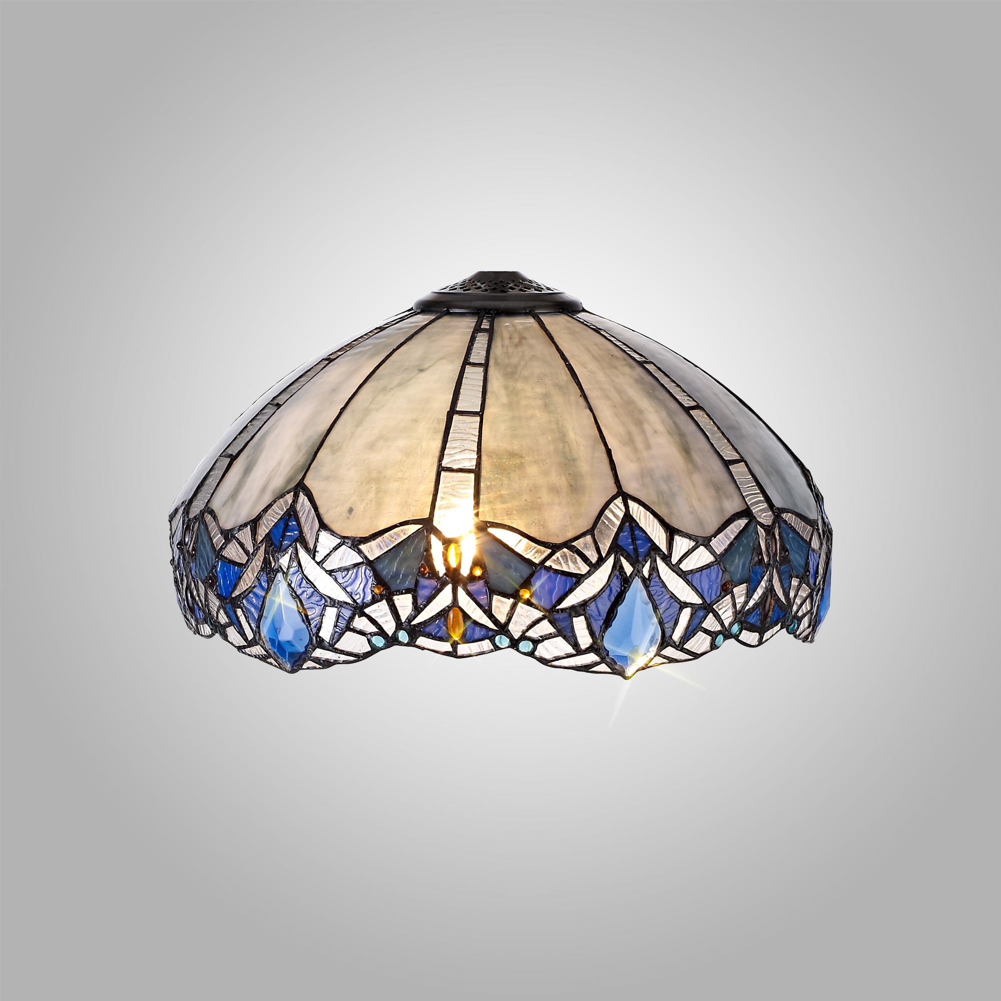 Tiffany 40cm Shade Only Suitable For Pendant/Ceiling/Table Lamp, Blue/Clear Crystal