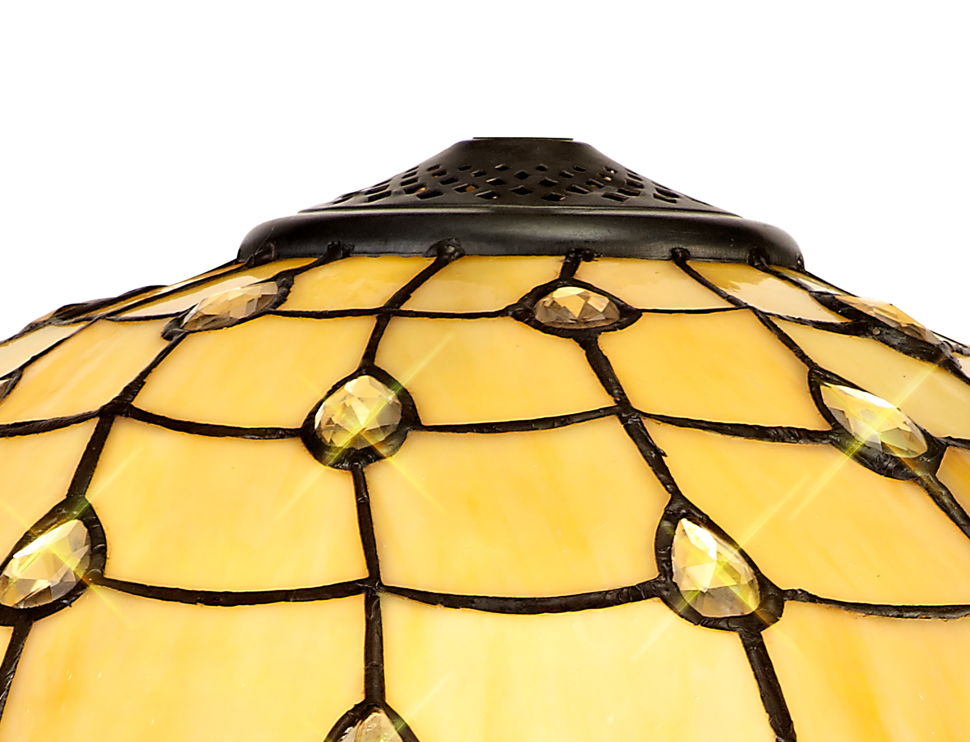 2 Light Octagonal Table Lamp E27 With 40cm Tiffany Shade, Beige/Clear Crystal/Aged Antique Brass