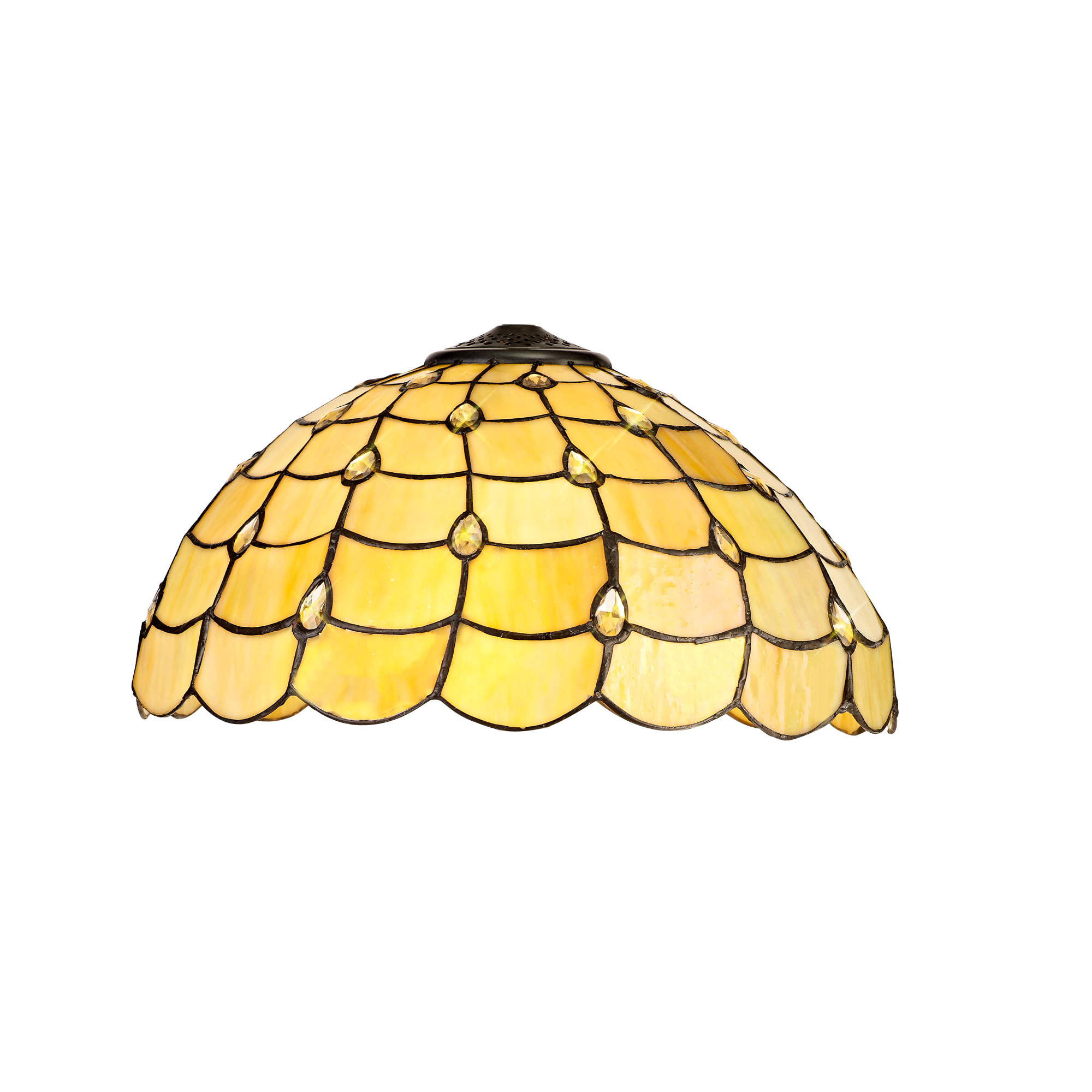 3 Light Downlighter Pendant E27 With 40cm Tiffany Shade, Beige/Clear Crystal/Aged Antique Brass