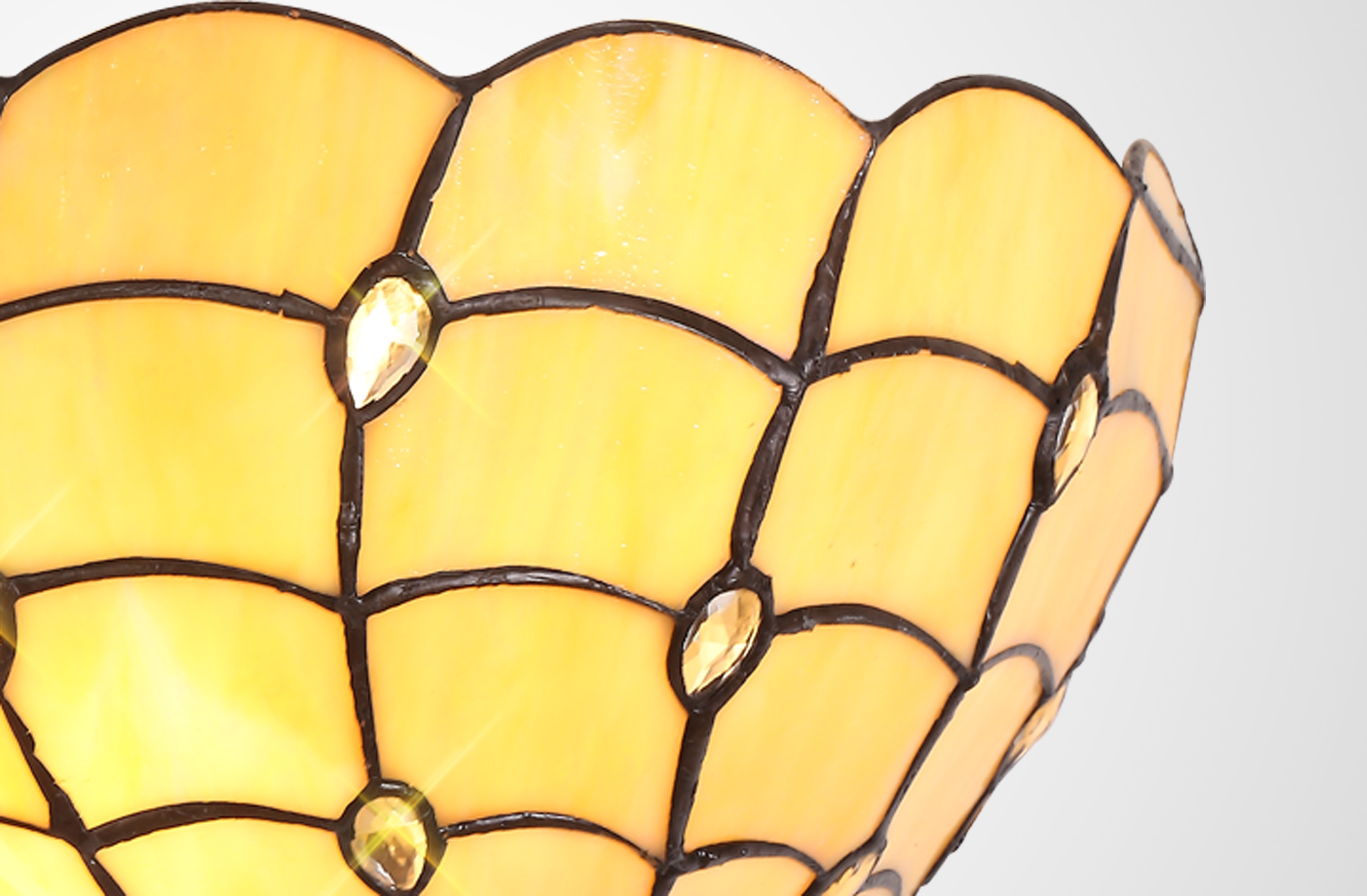 Tiffany 30cm Wall Lamp, 2 x E14, Beige/Clear Crystal
