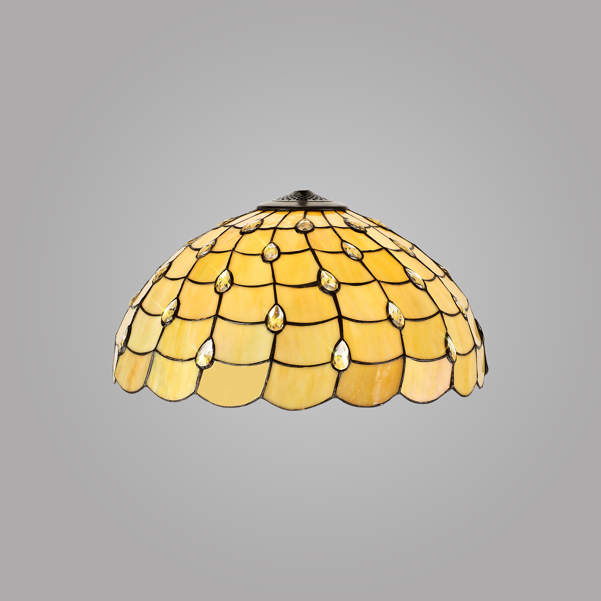 Tiffany 50cm Non-electric Shade Suitable For Pendant/Ceiling/Table Lamp, Beige/Clear Crystal