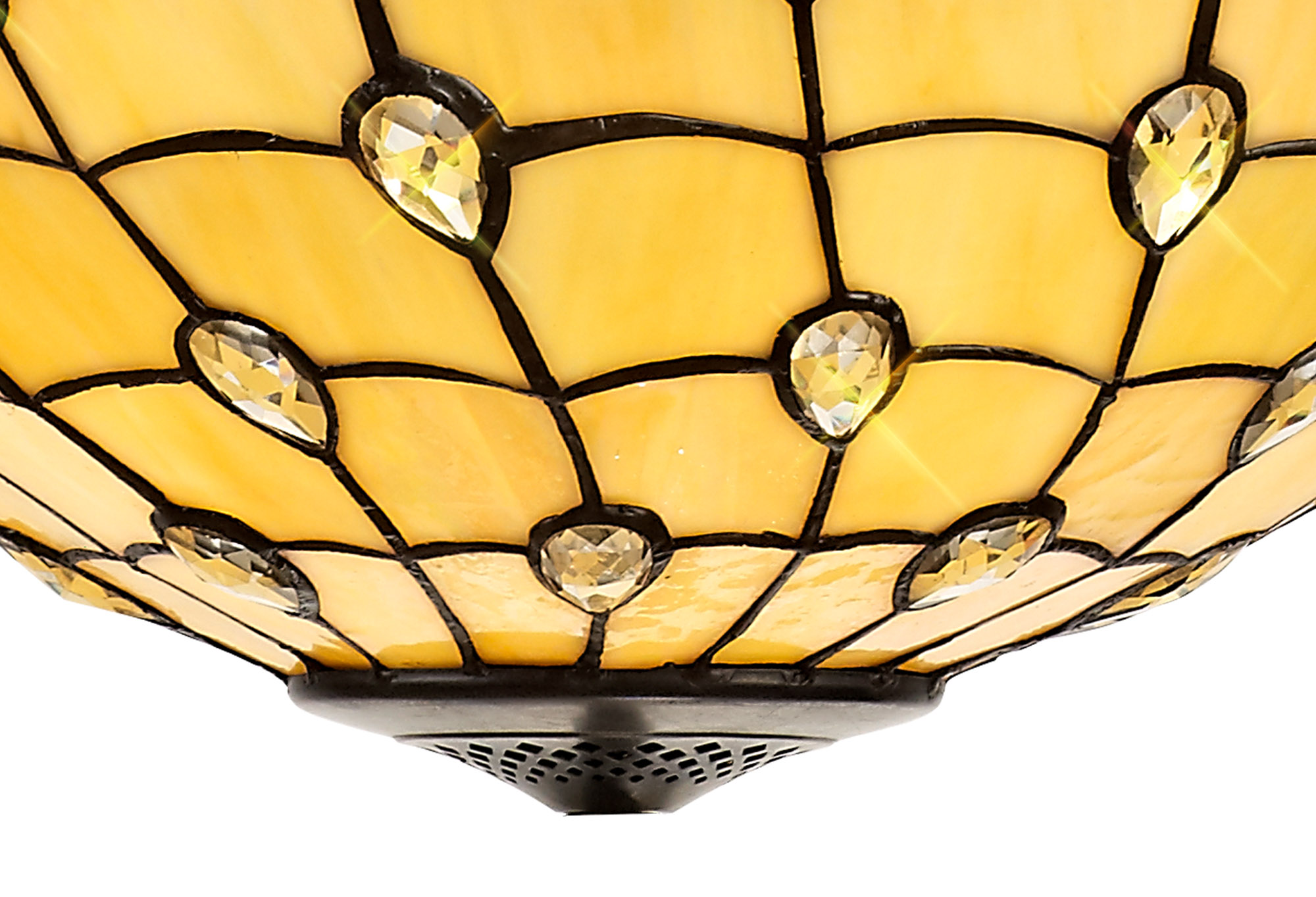 2 Light Octagonal Floor Lamp E27 With 50cm Tiffany Shade, Beige/Clear Crystal/Aged Antique Brass