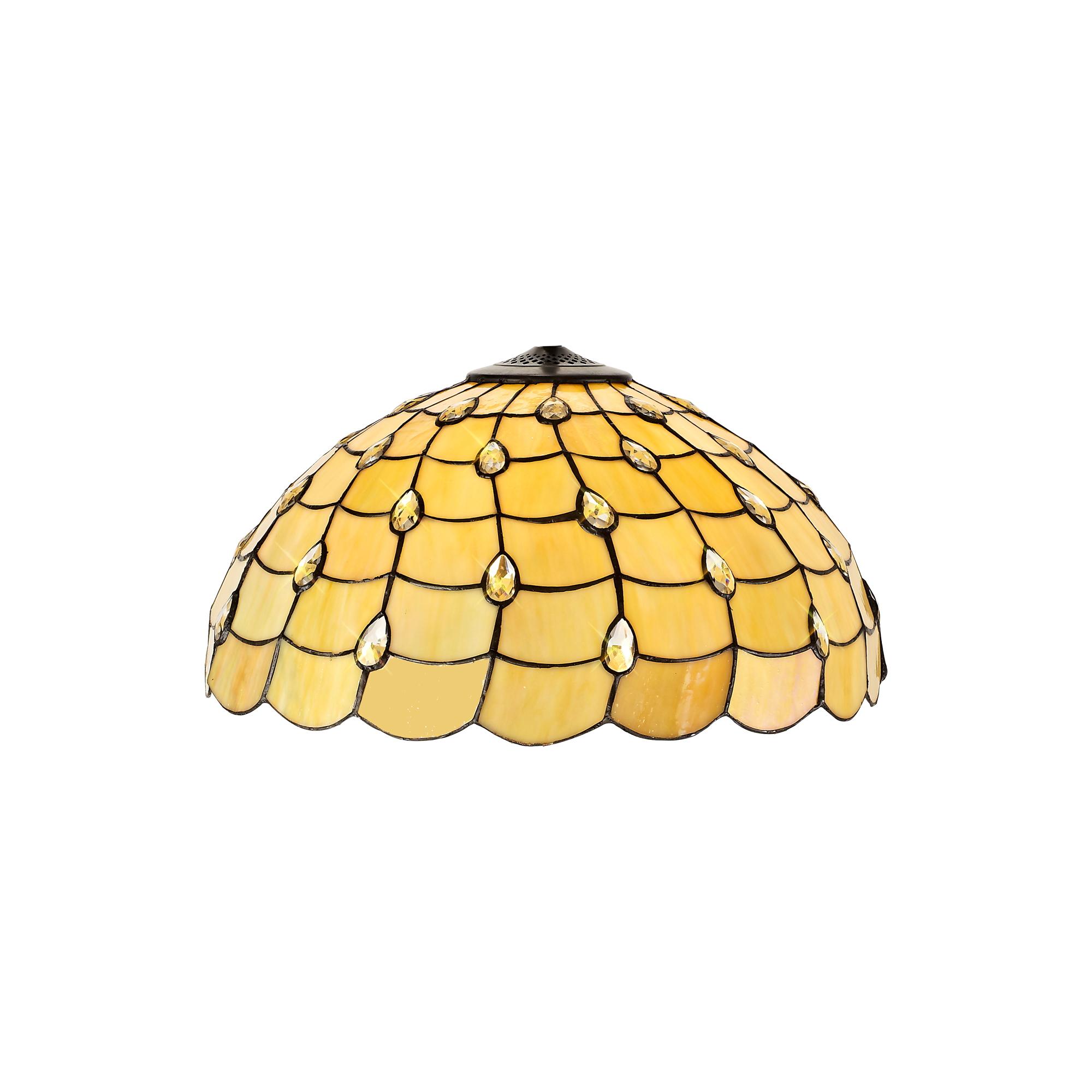 1 Light Downlighter Pendant E27 With 50cm Tiffany Shade, Beige/Clear Crystal/Aged Antique Brass