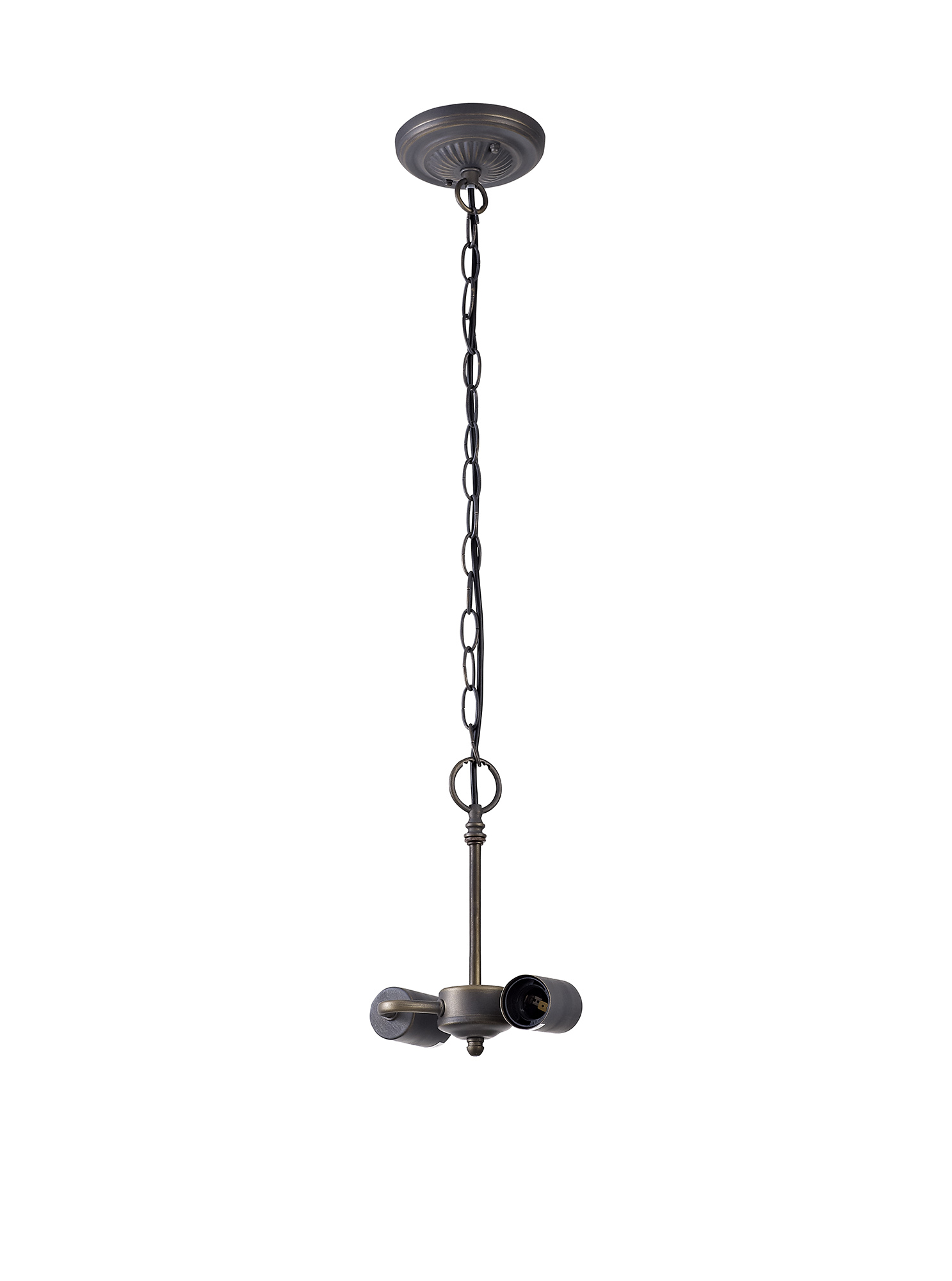 2 Light Downlighter Pendant E27 With 30cm Tiffany Shade, White/Grey/Black/Clear Crystal/Aged Antique Brass