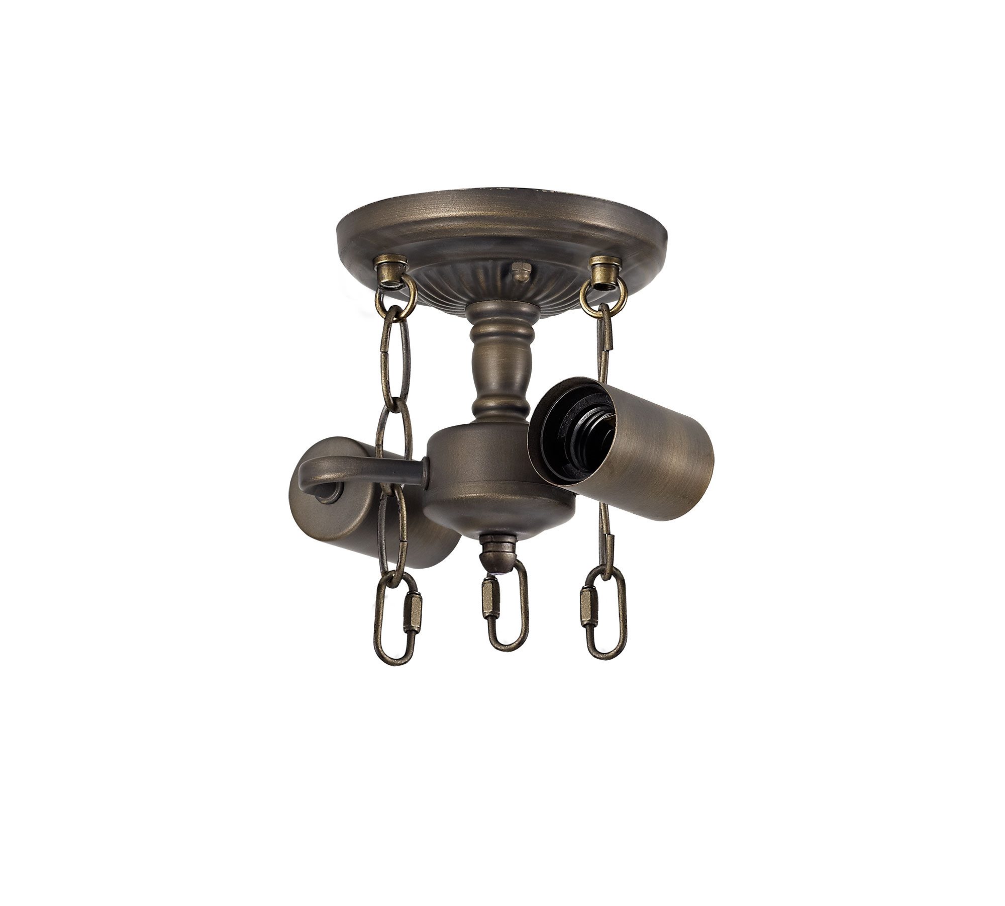 Semi Ceiling Kit, 2 x E27, Aged Antique Brass