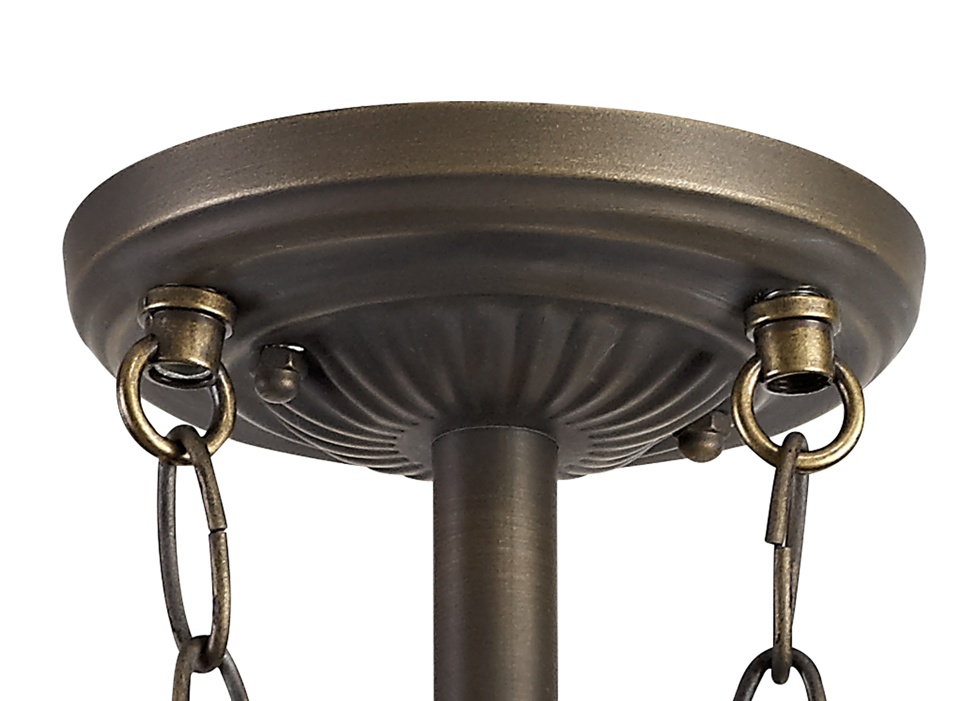 3 Light E27 Semi Ceiling With Tiffany Shade 40cm Shade, White/Grey/Black/Clear Crystal/Aged Antique Brass
