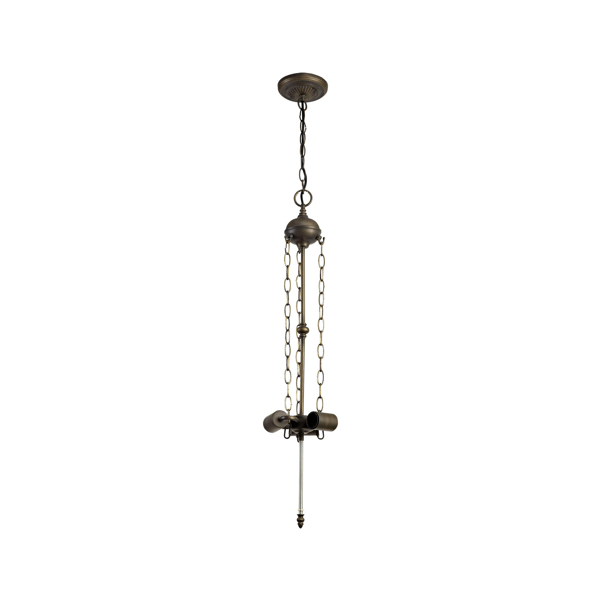 3 Light Uplighter Pendant E27 With 30cm Tiffany Shade, Blue/Clear Crystal/Aged Antique Brass