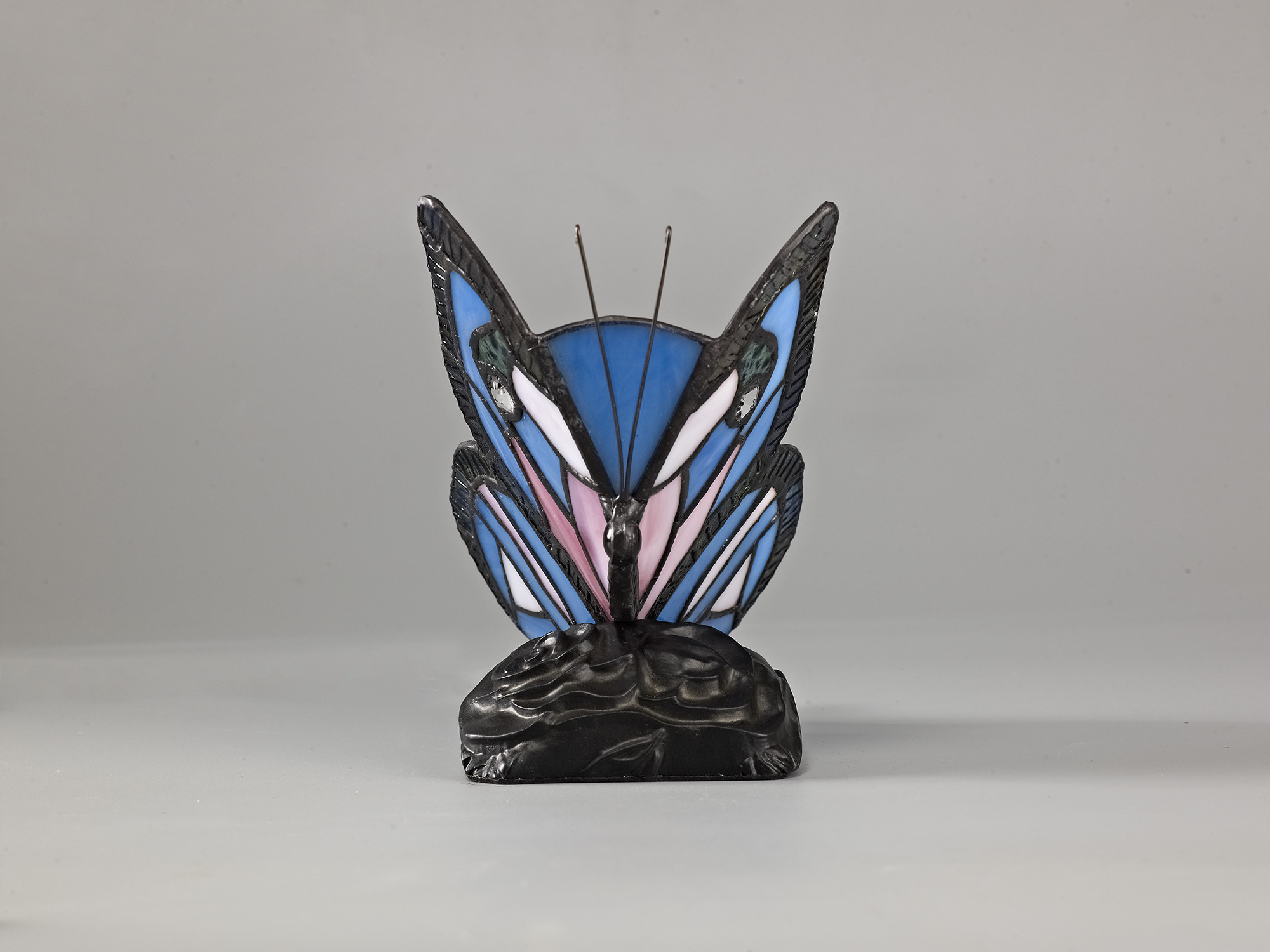 Tiffany Butterfly Table Lamp, 1 x E14, Black Base With Blue/Pink Glass With Clear Crystal