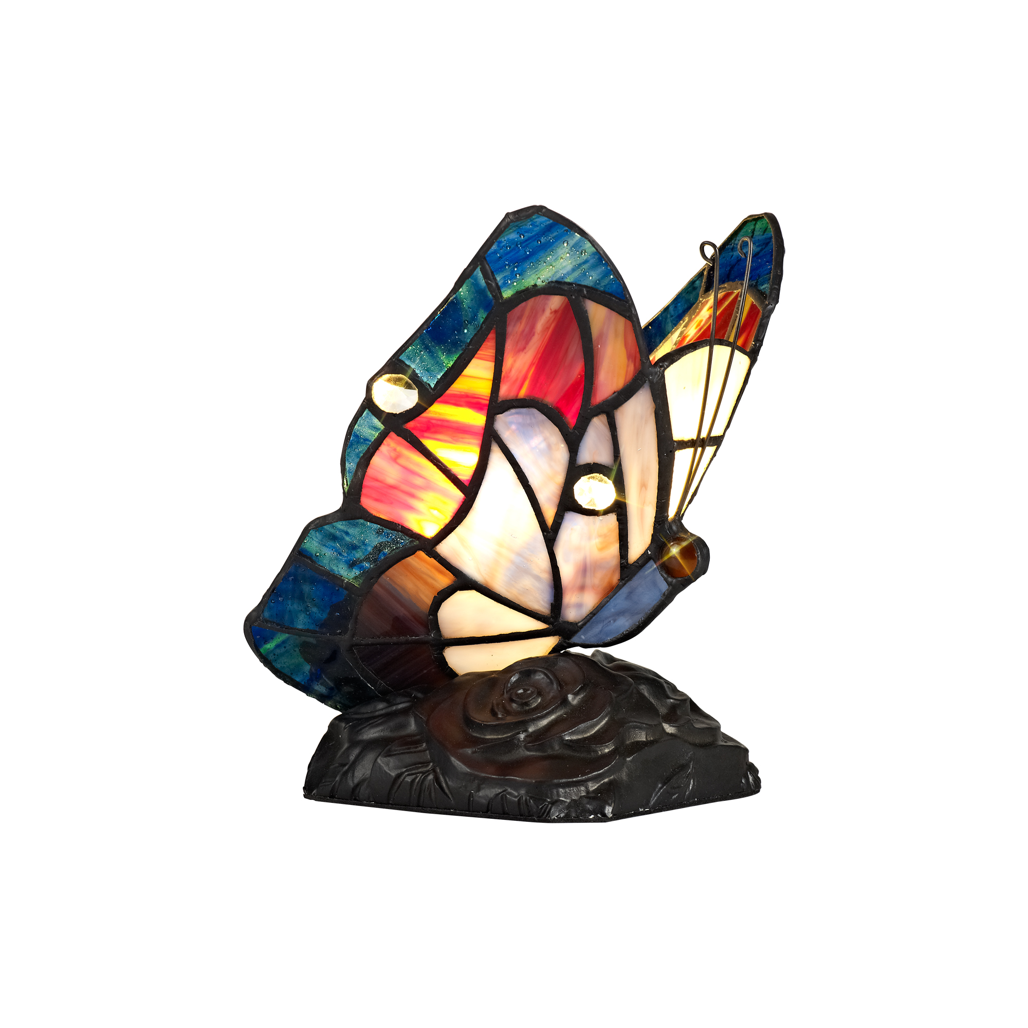 Tiffany Butterfly Table Lamp, 1 x E14, Black Base With Blue/Brown Glass With Clear Crystal
