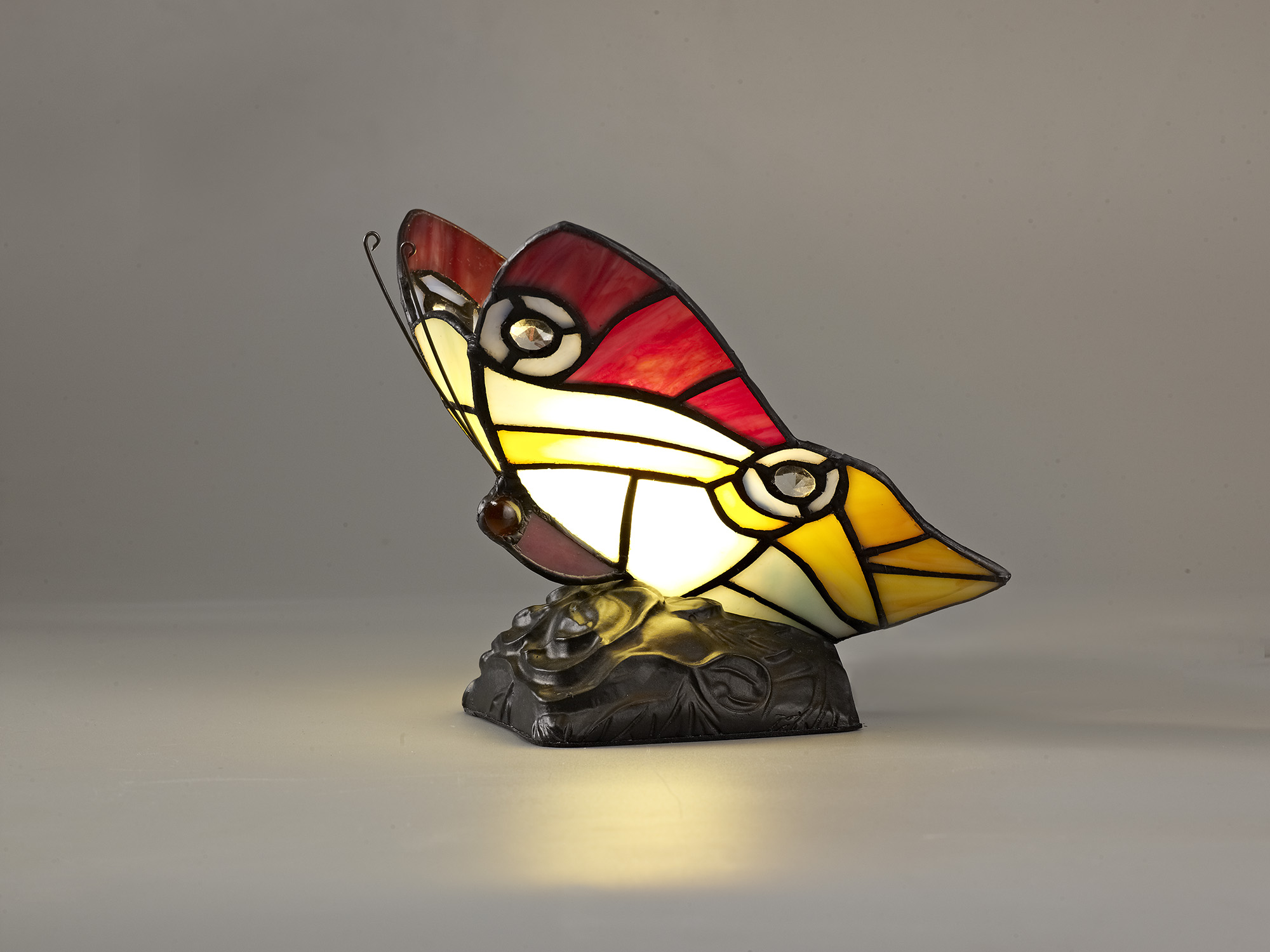 Tiffany Butterfly Table Lamp, 1 x E14, Black Base With Red/Yellow/Blue Glass With Clear Crystal