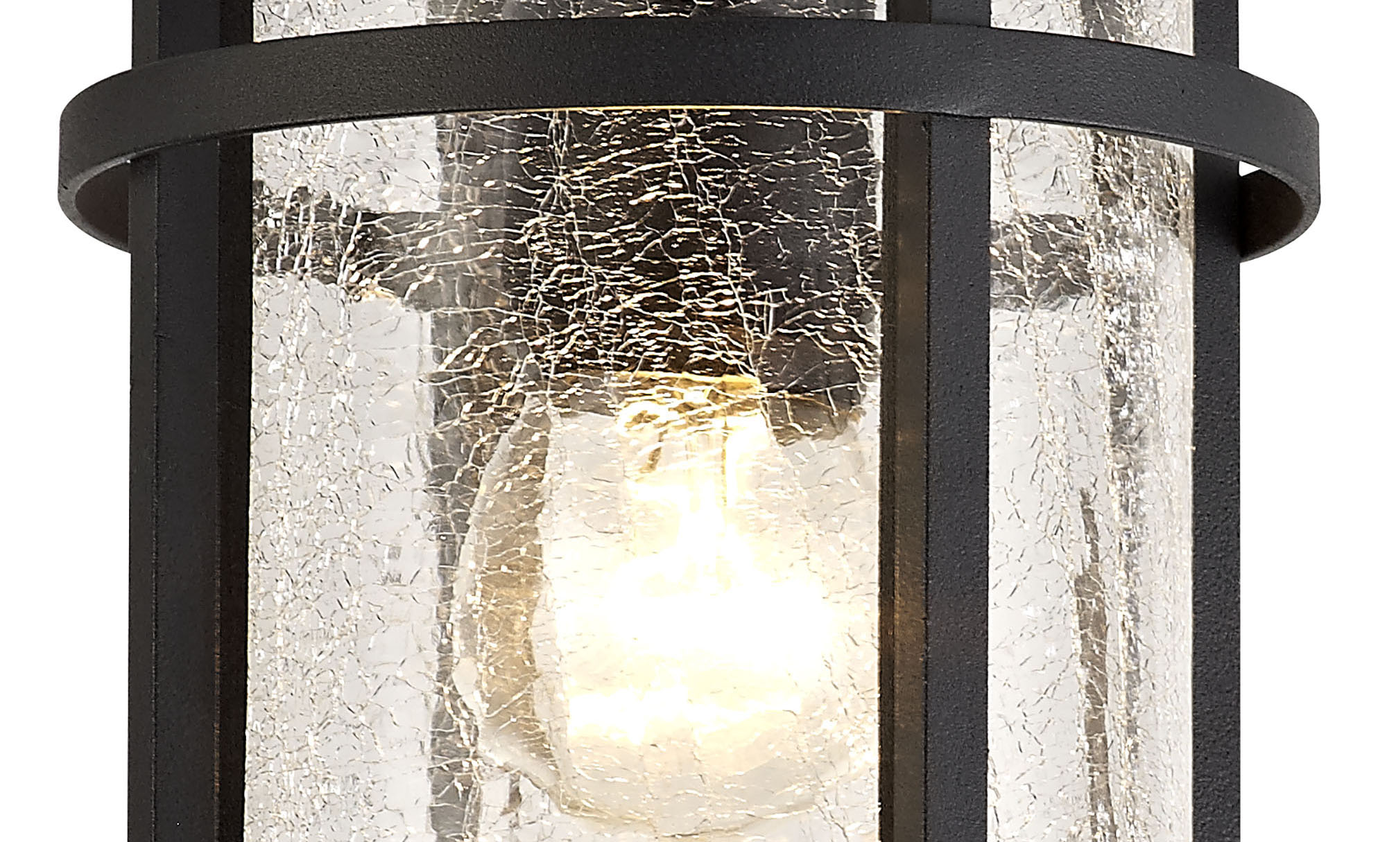 Ceiling, 1 x E27, Black/Clear Crackled Glass, IP54, 2yrs Warranty