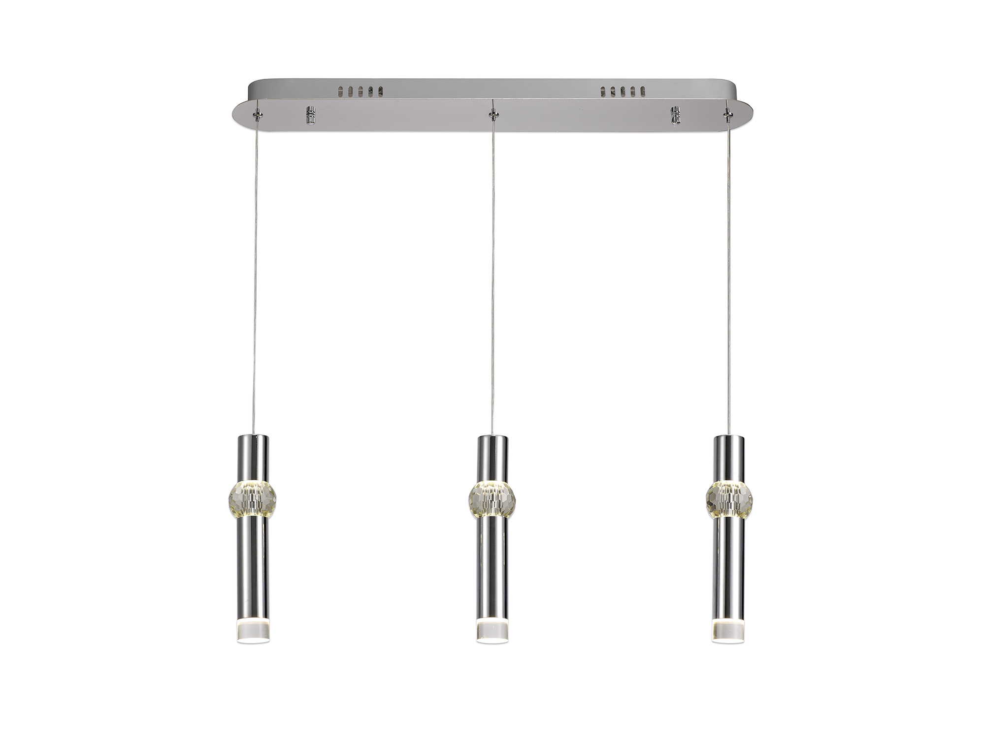 3 Light Linear Pendant, 3 x 5W LED, 3000K, 304lm, Polished Chrome, 3yrs Warranty