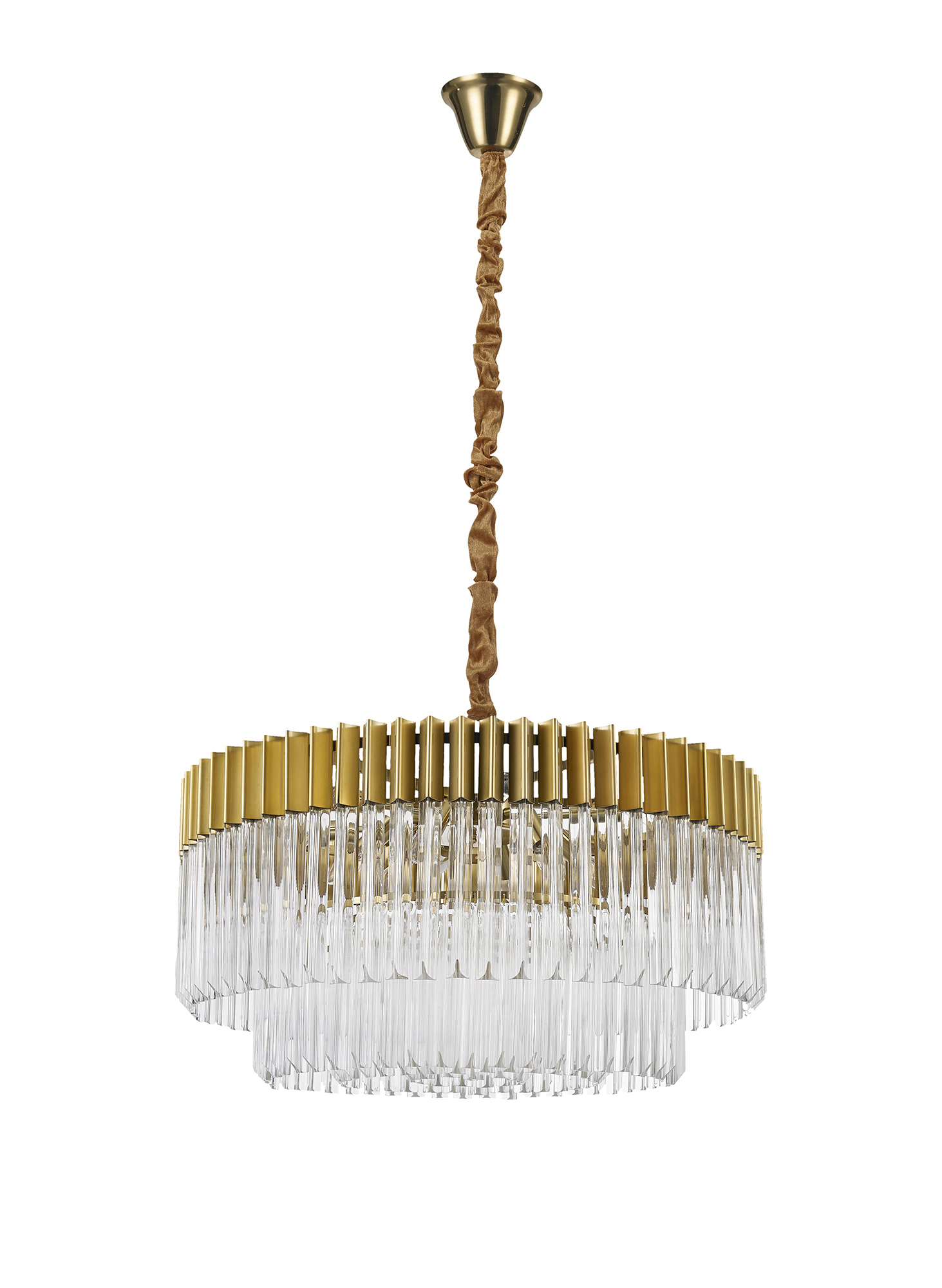 Pendant Round 12 Light E14, Brass/Glass