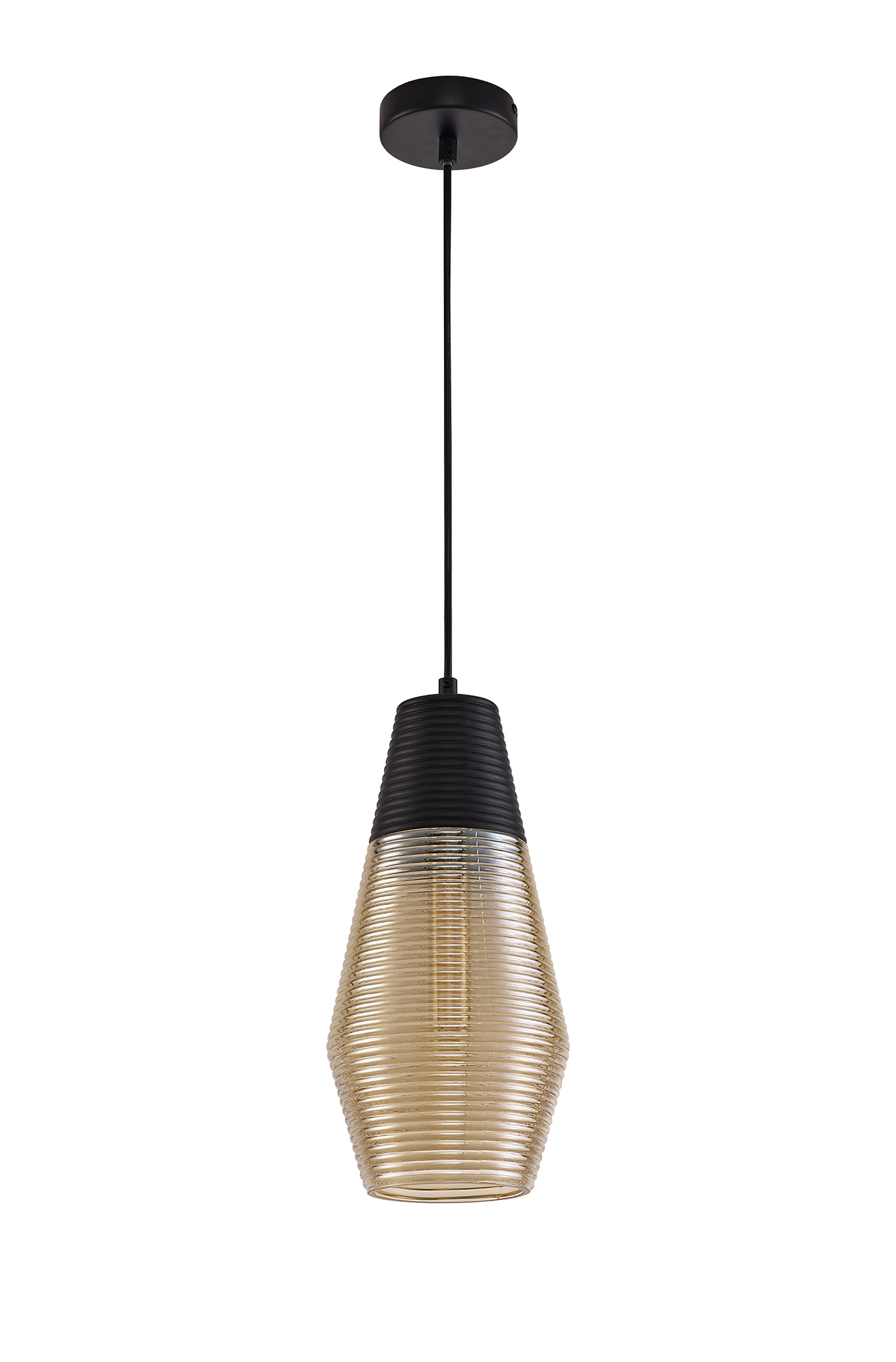 simple Cone Pendant 1 Light E27, Black/Amber Glass