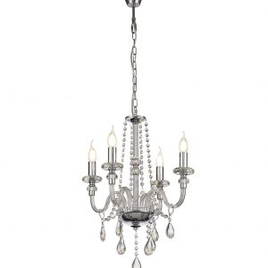 Chandelier Pendant, 4 Light E14, Polished Chrome/Clear Glass/Crystal