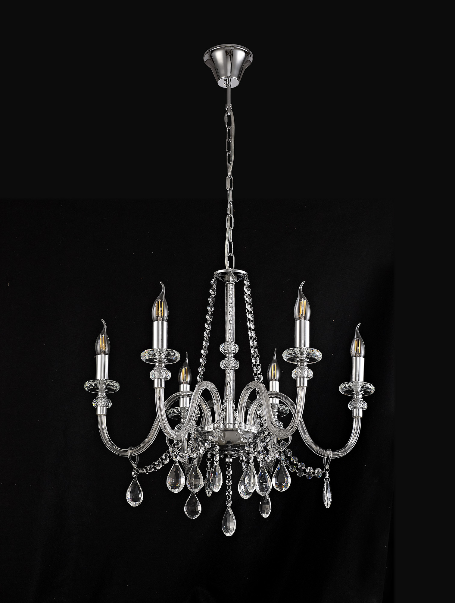 Chandelier Pendant, 6 Light E14, Polished Chrome/Clear Glass/Crystal, (ITEM REQUIRES CONSTRUCTION/CONNECTION)