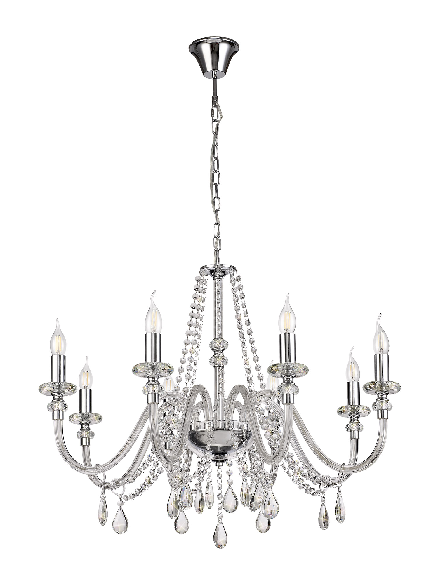 Chandelier Pendant, 8 Light E14, Polished Chrome/Clear Glass/Crystal, (ITEM REQUIRES CONSTRUCTION/CONNECTION)
