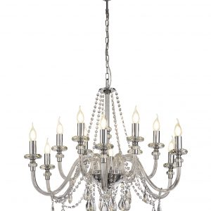 Chandelier Pendant, 12 Light E14, Polished Chrome/Clear Glass/Crystal, (ITEM REQUIRES CONSTRUCTION/CONNECTION)