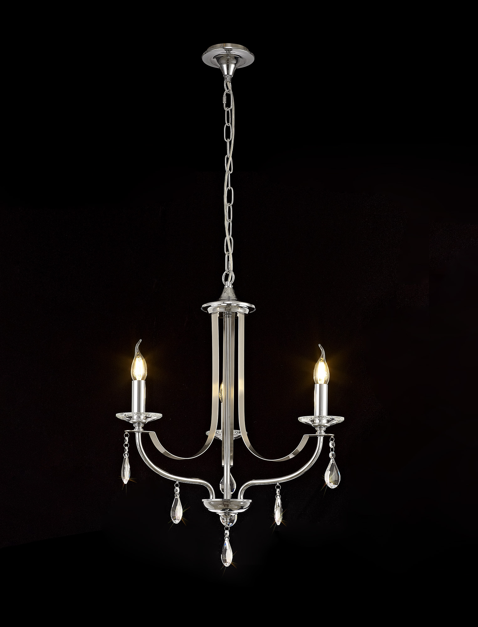 Pendant 3 Light E14 Polished Chrome/Satin Nickel/Clear Crystal