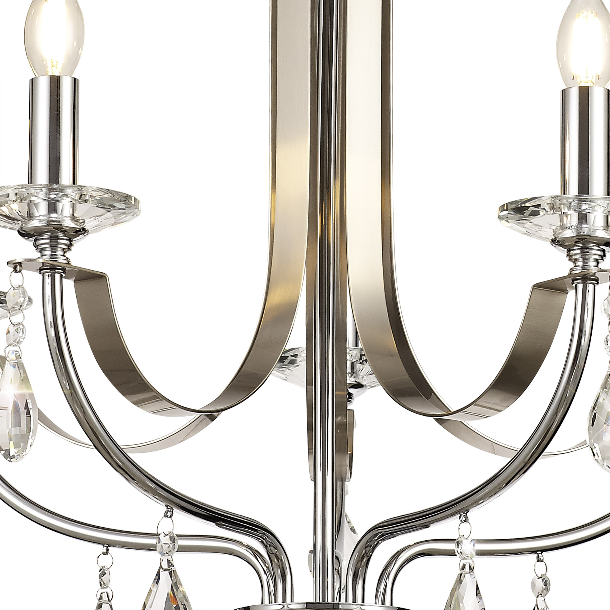 Pendant 5 Light E14, Polished Chrome & Satin Nickel/Clear Crystal