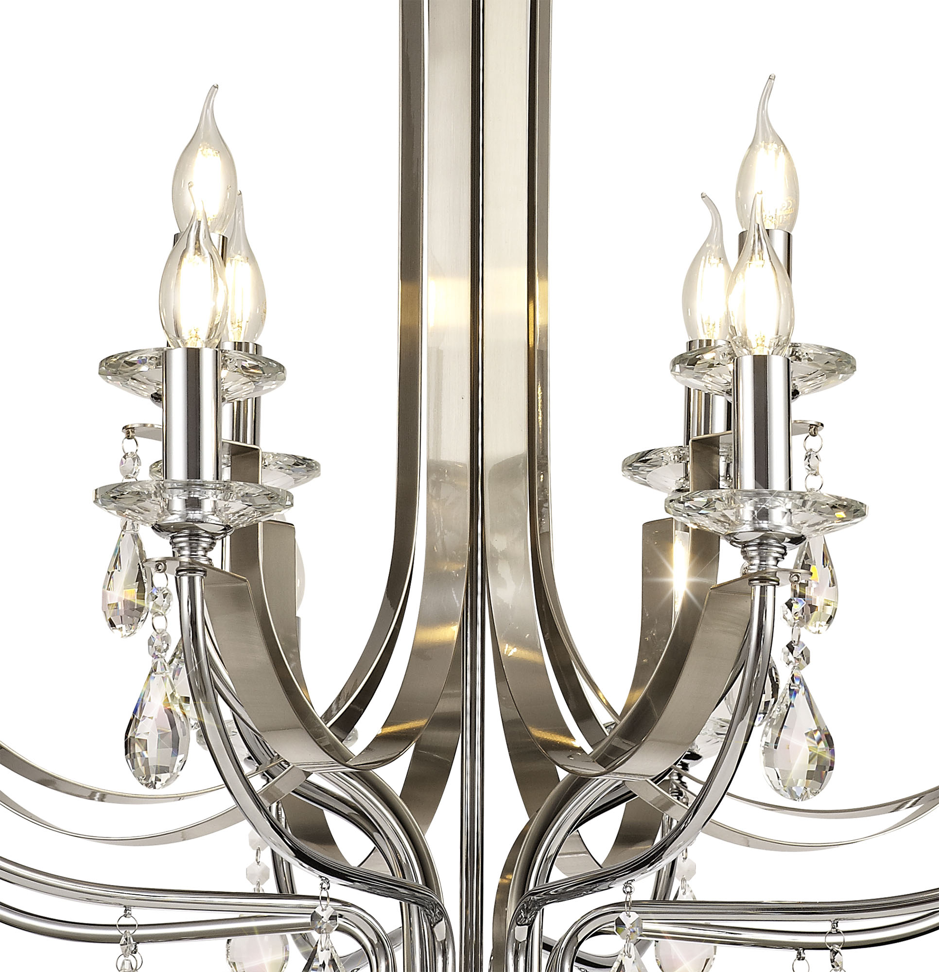 Pendant 12 Light E14 Polished Chrome/Satin Nickel/Clear Crystal