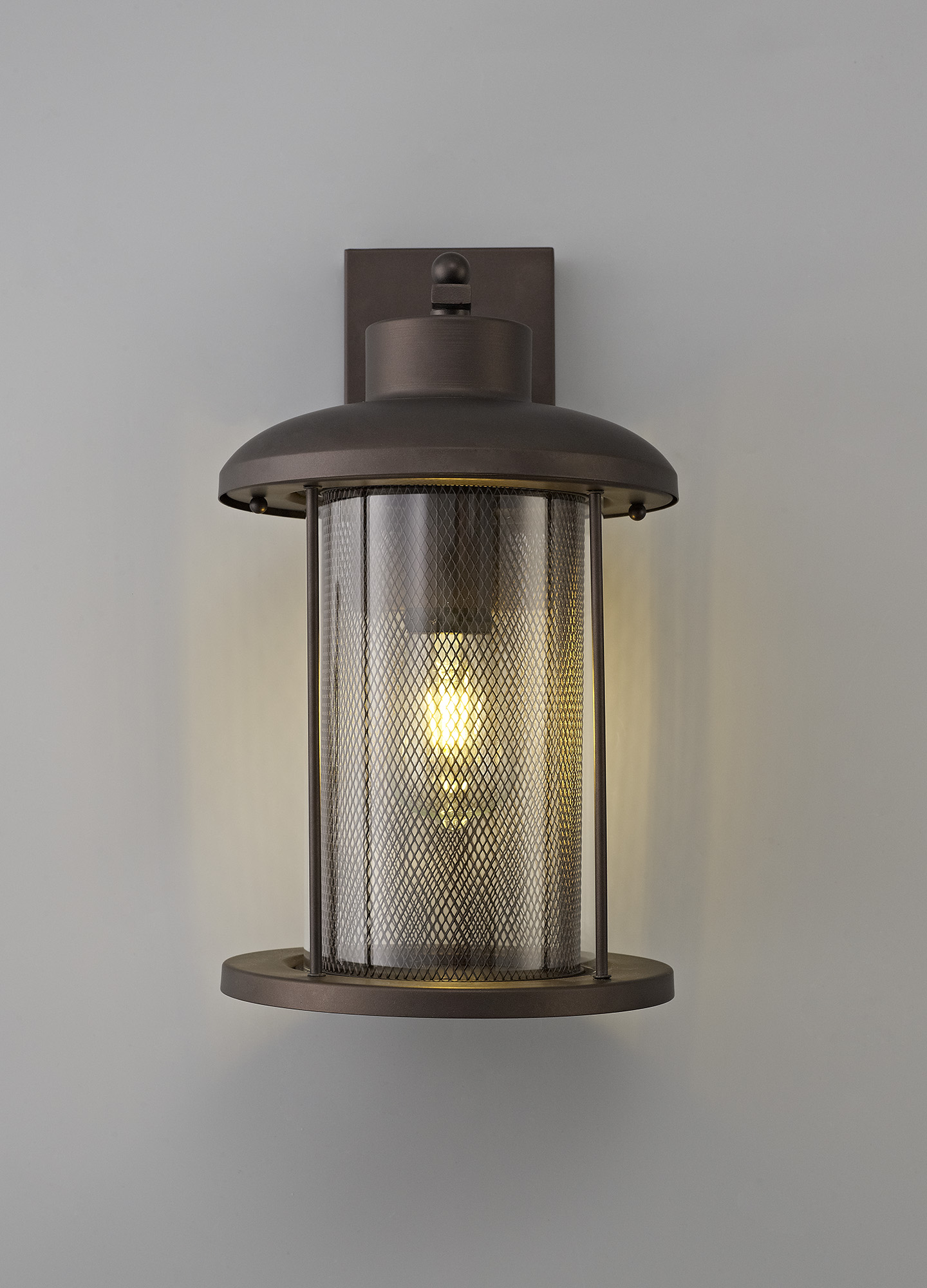 Extra Large Wall Lamp, 1 x E27, Antique Bronze/Clear Glass, IP54, 2yrs Warranty