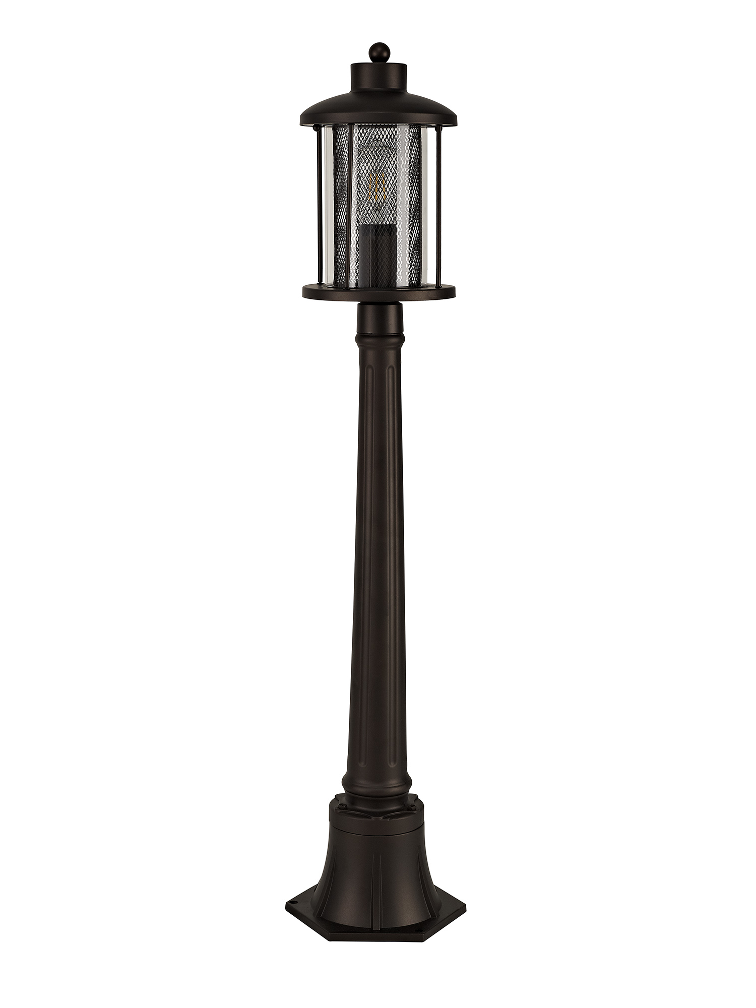 simple Headed Post Lamp, 1 x E27, Antique Bronze/Clear Glass, IP54, 2yrs Warranty