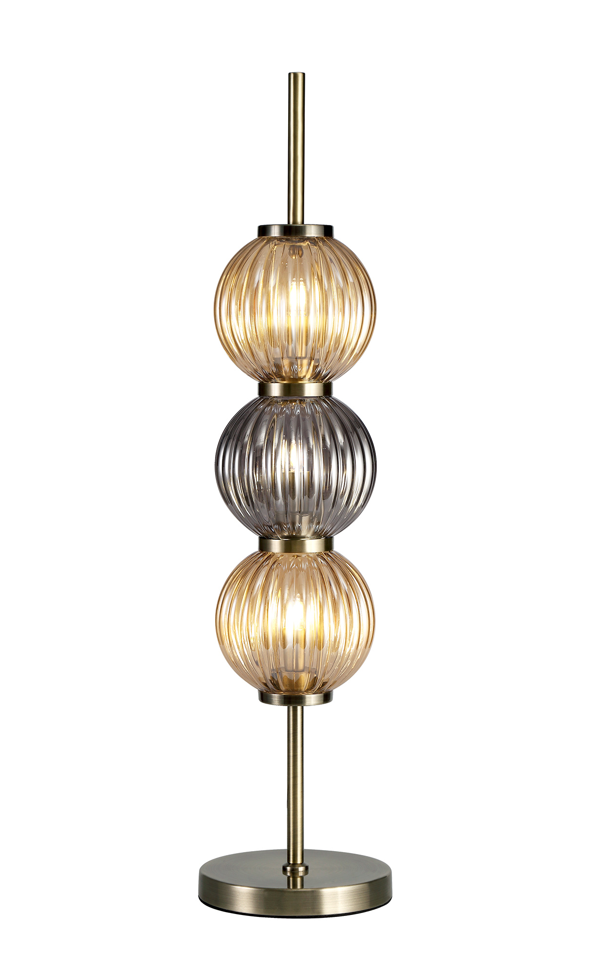 Table Lamp, 3 x G9, Antique Brass/Smoked & Amber Glass