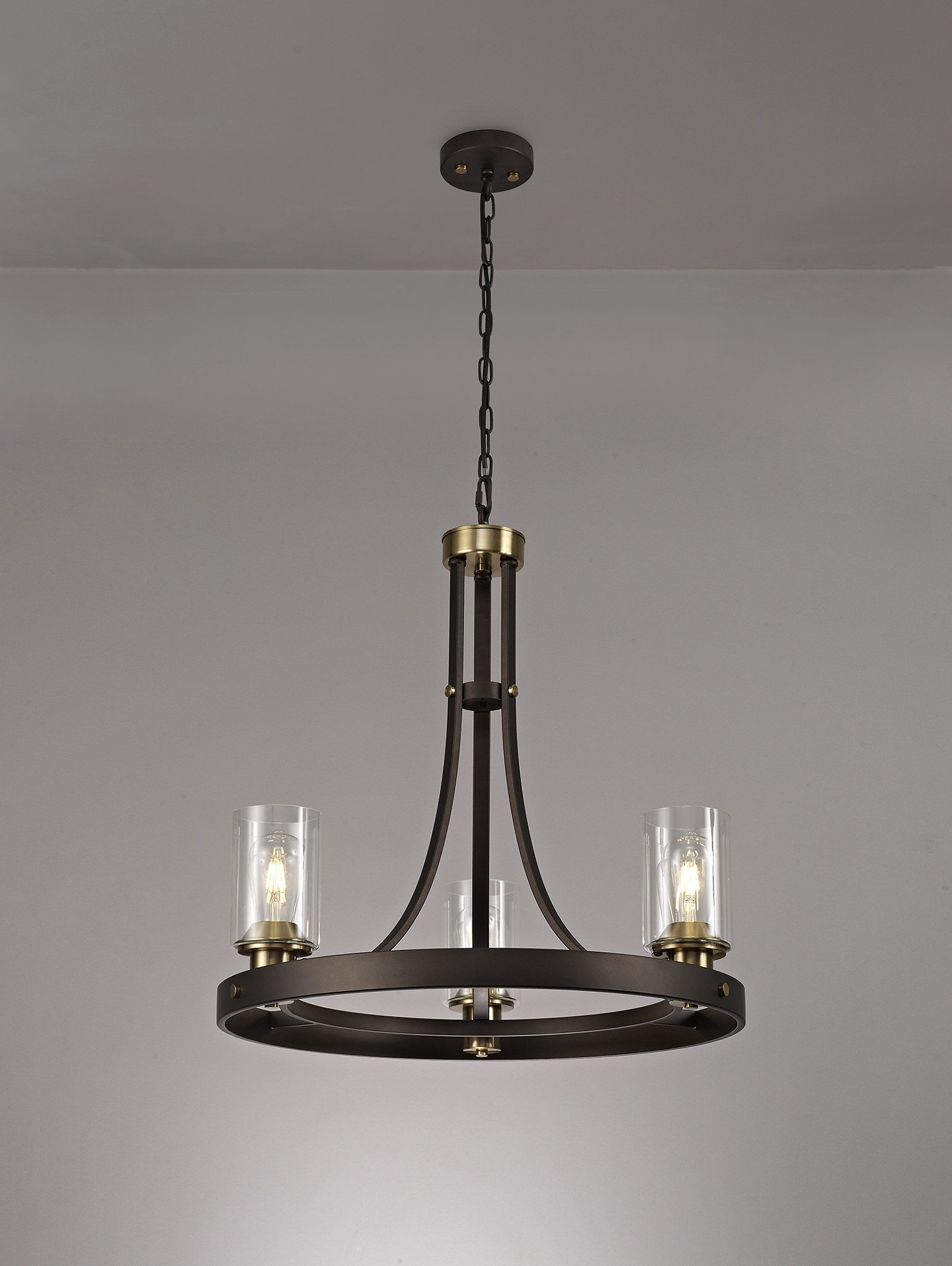 Pendant 3 Light E27, Brown Oxide/Bronze With Clear Glass Shades
