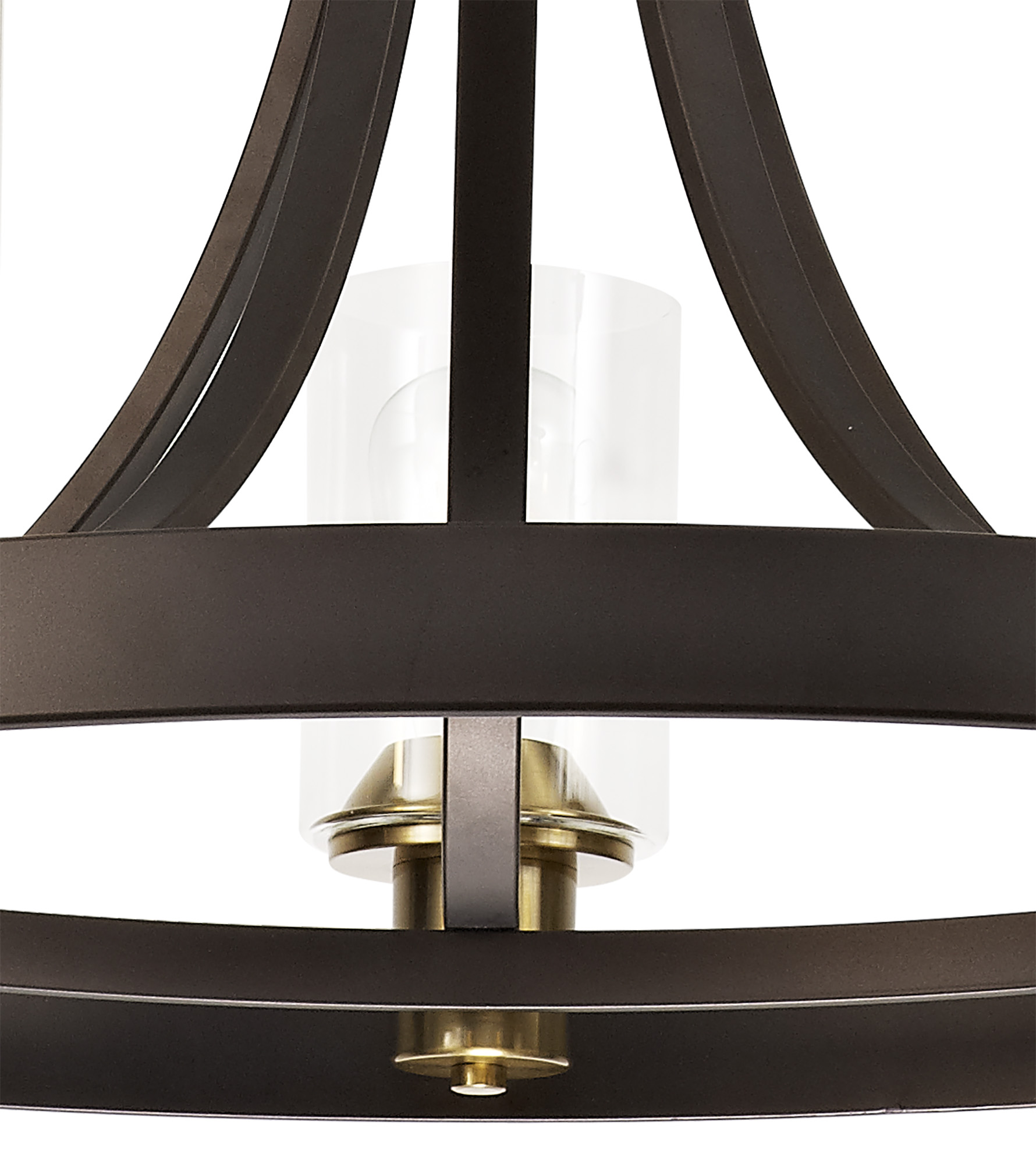 Pendant 5 Light E27, Brown Oxide/Bronze With Clear Glass Shades