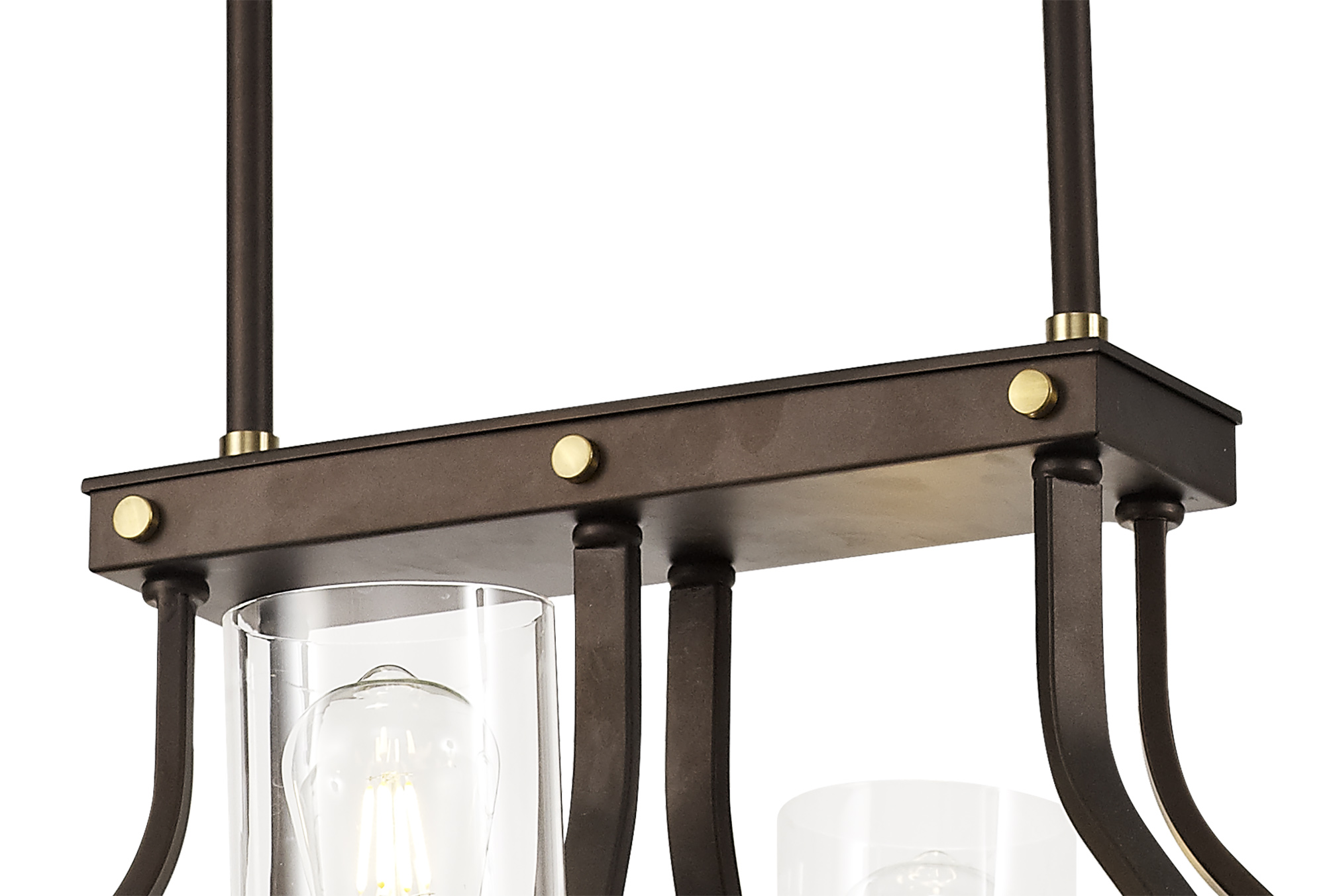 Linear Pendant 6 Light E27, Brown Oxide/Bronze With Clear Glass Shades