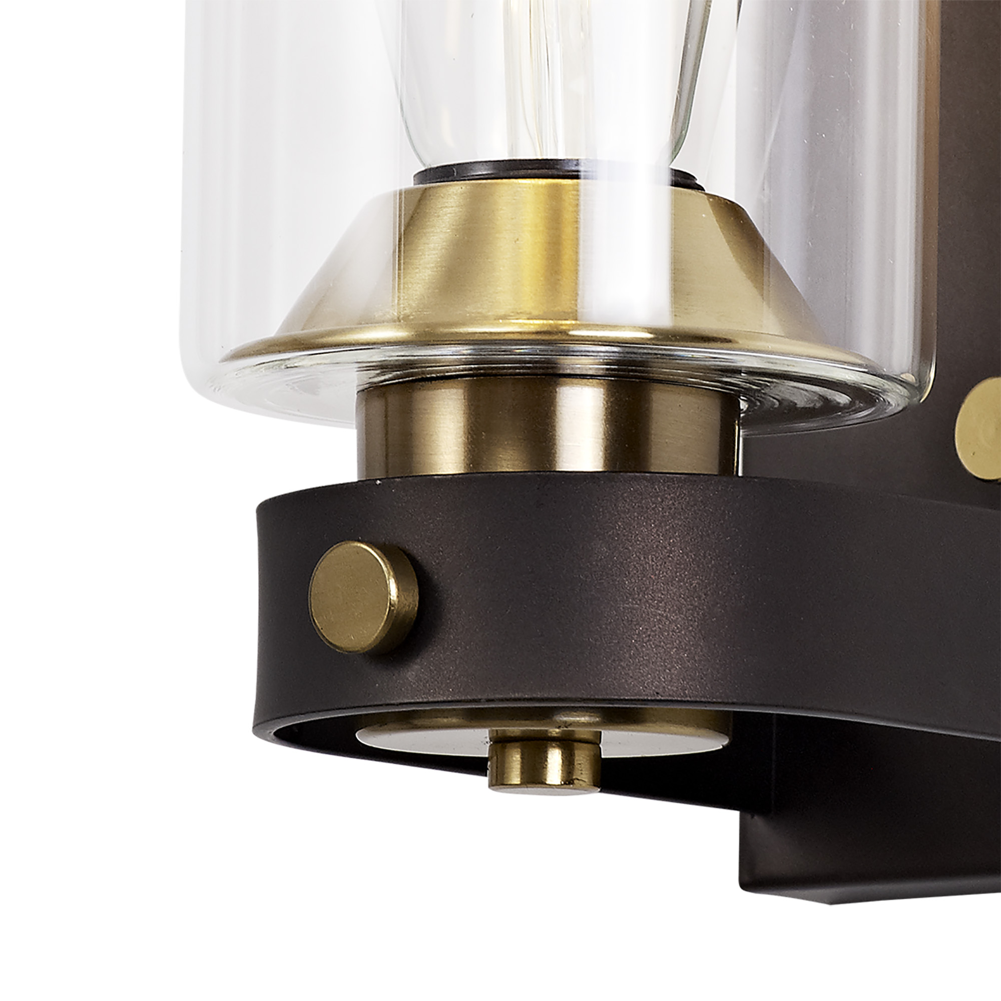 Wall Lamp 1 Light E27, Brown Oxide/Bronze With Clear Glass Shades