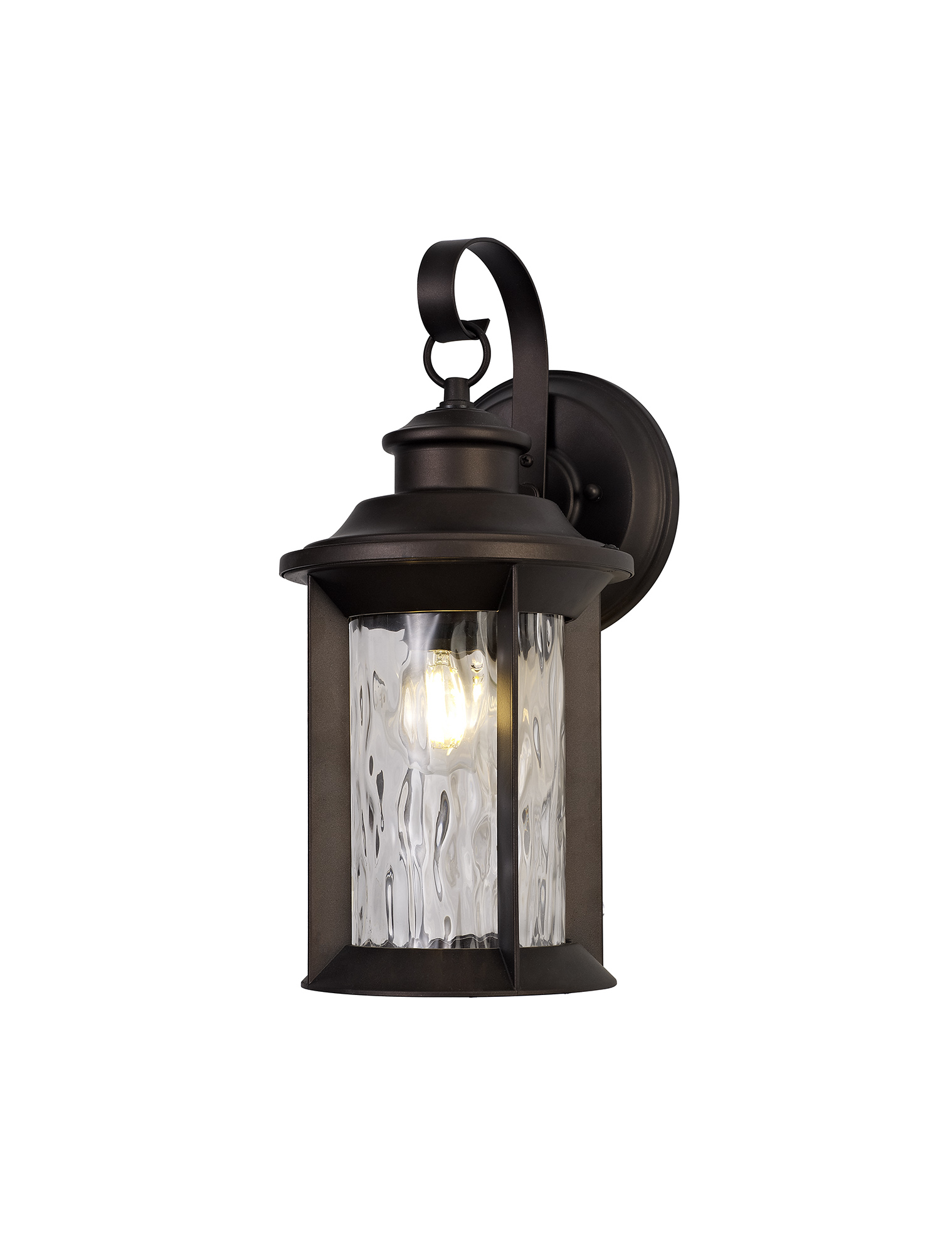 Small Wall Lamp, 1 x E27, Antique Bronze/Clear Ripple Glass, IP54, 2yrs Warranty