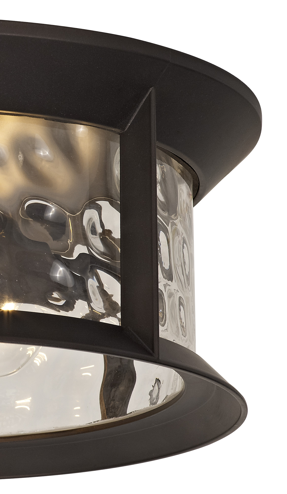 Flush Ceiling Lamp, 2 xE27, Antique Bronze/Clear Ripple Glass, IP54, 2yrs Warranty