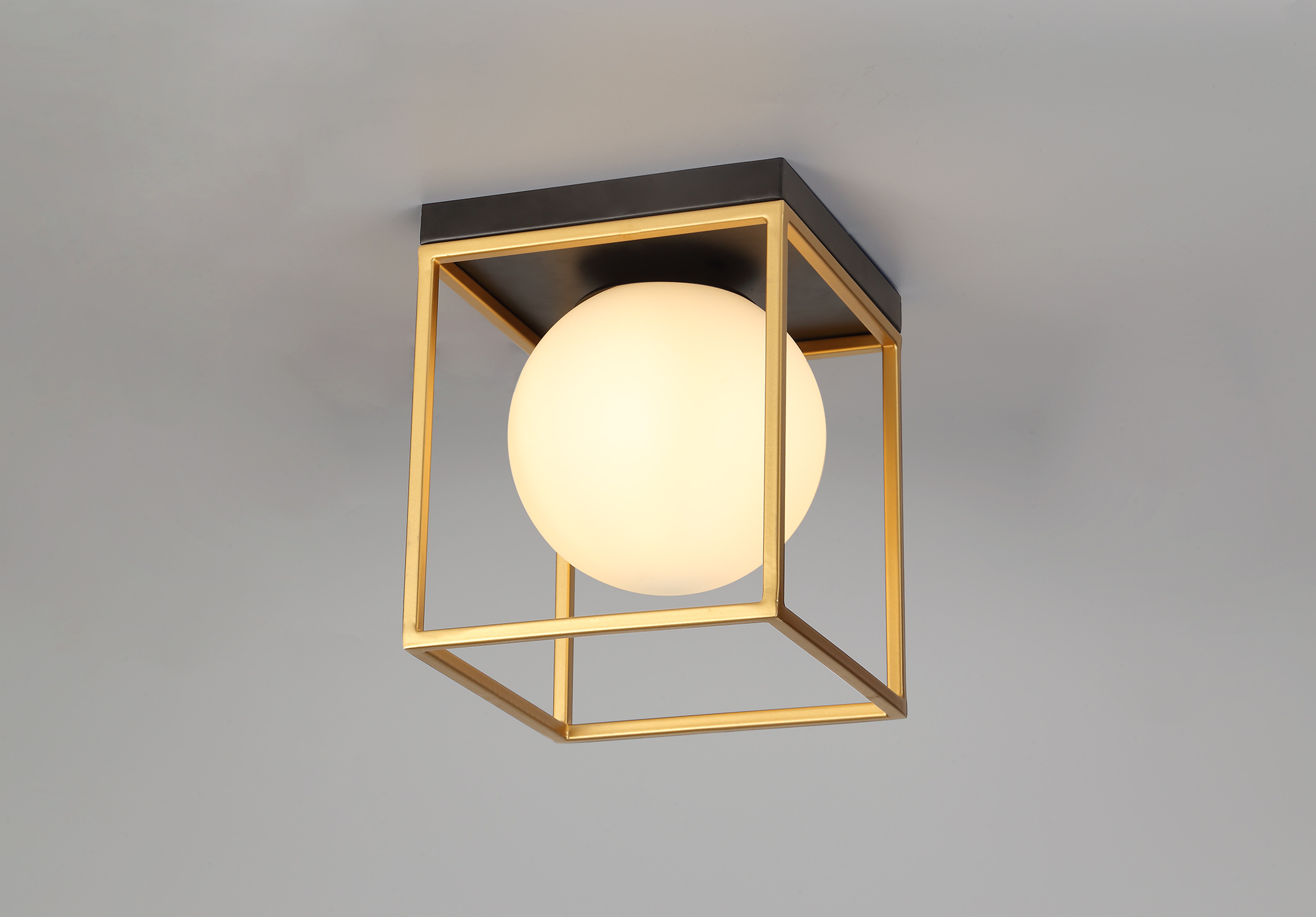 Square Ceiling Flush, 1 Light E14, Matt Black/Painted Gold
