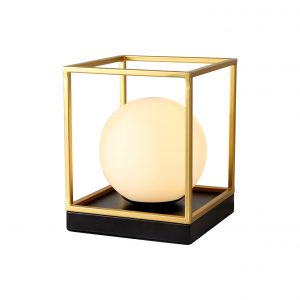 Table Lamp, 1 Light E14, Matt Black/Painted Gold