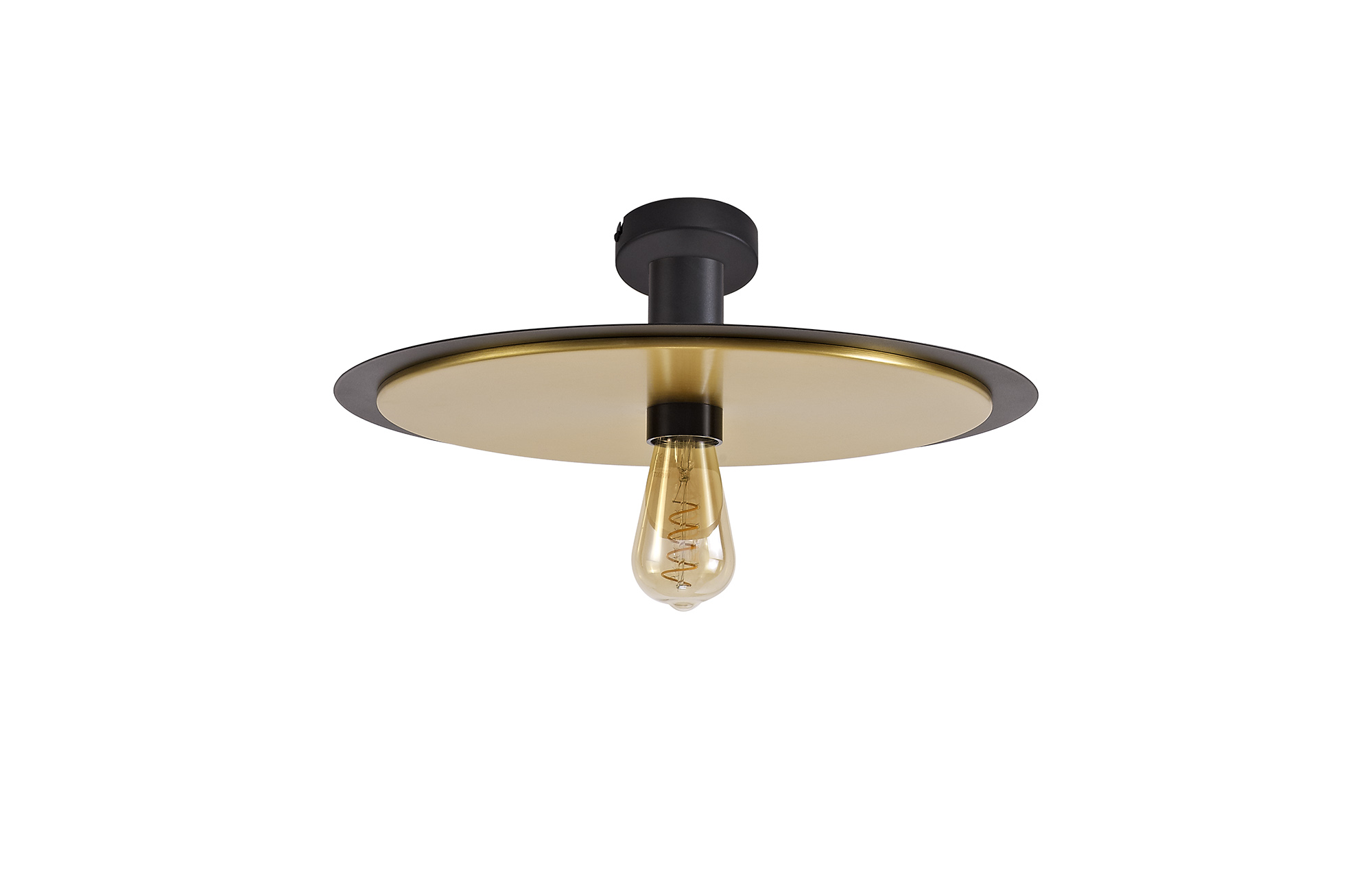 simple 3 In1 Ceiling Flush, Semi-Fush & Pendant Light, 1 Light Adjustable E27, Black/Gold