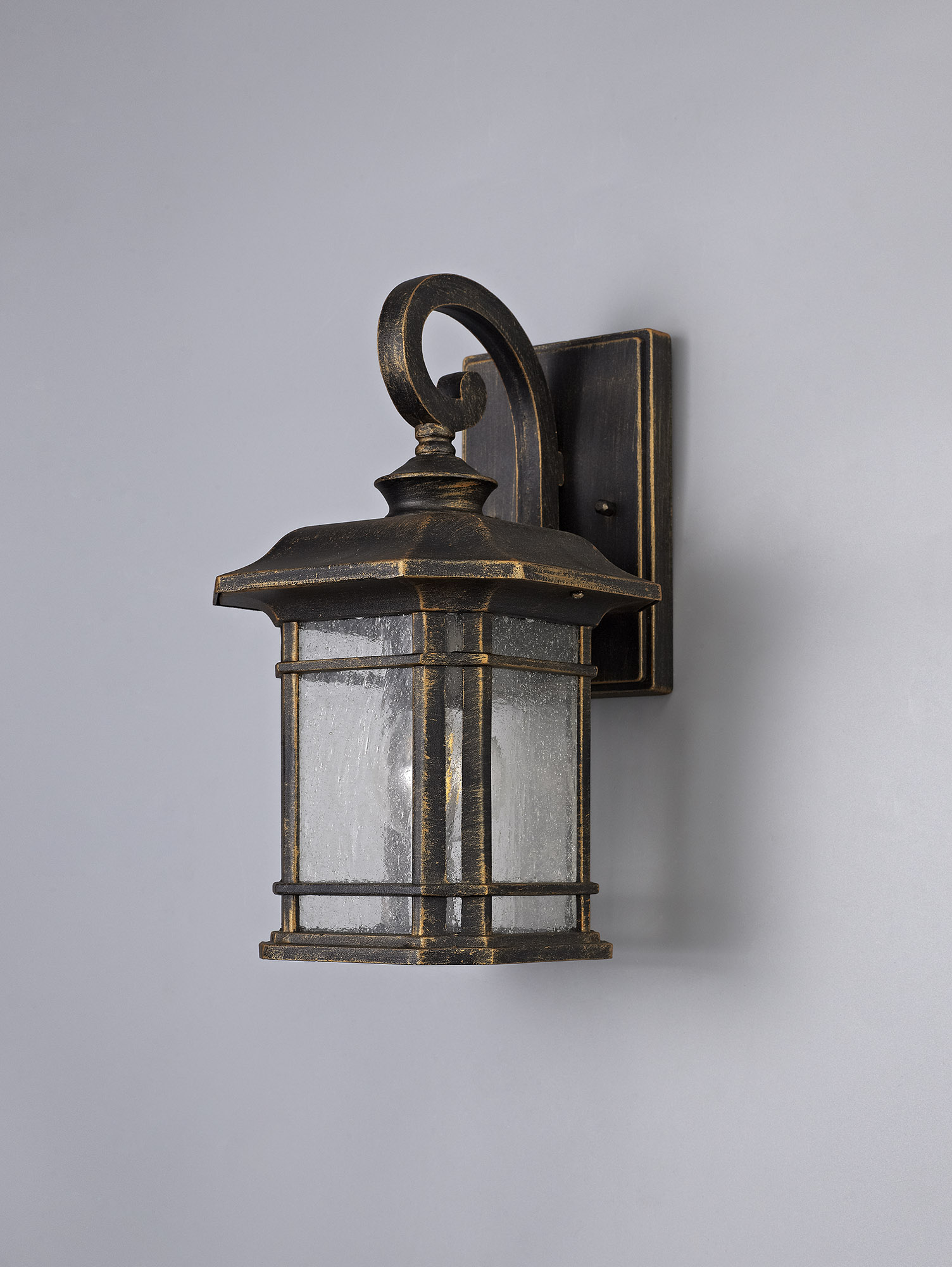 Small Wall Lamp, 1 x E27, Brushed Black Gold/Seeded Glass, IP54, 2yrs Warranty