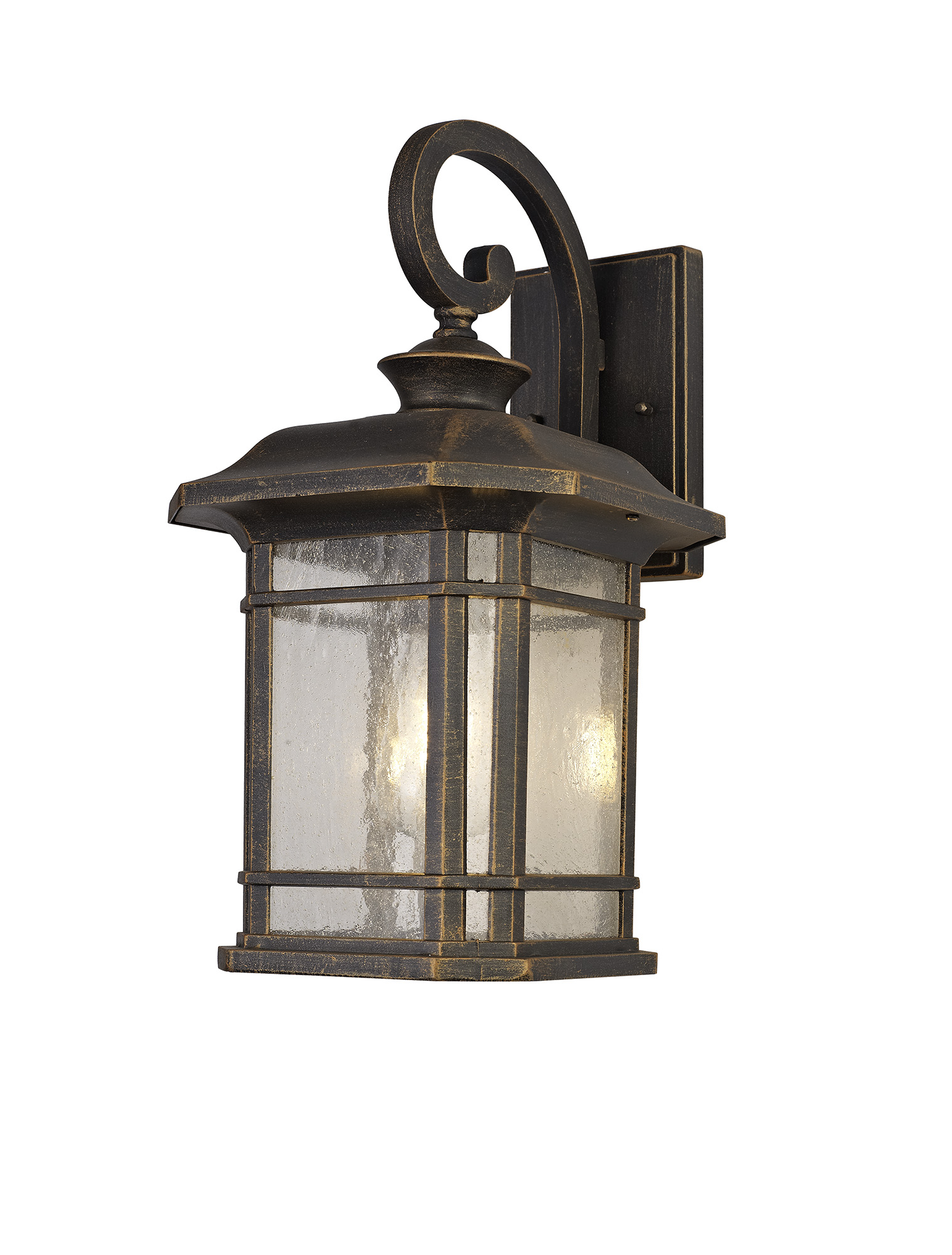 Large Wall Lamp, 1 x E27, Brushed Black Gold/Seeded Glass, IP54, 2yrs Warranty