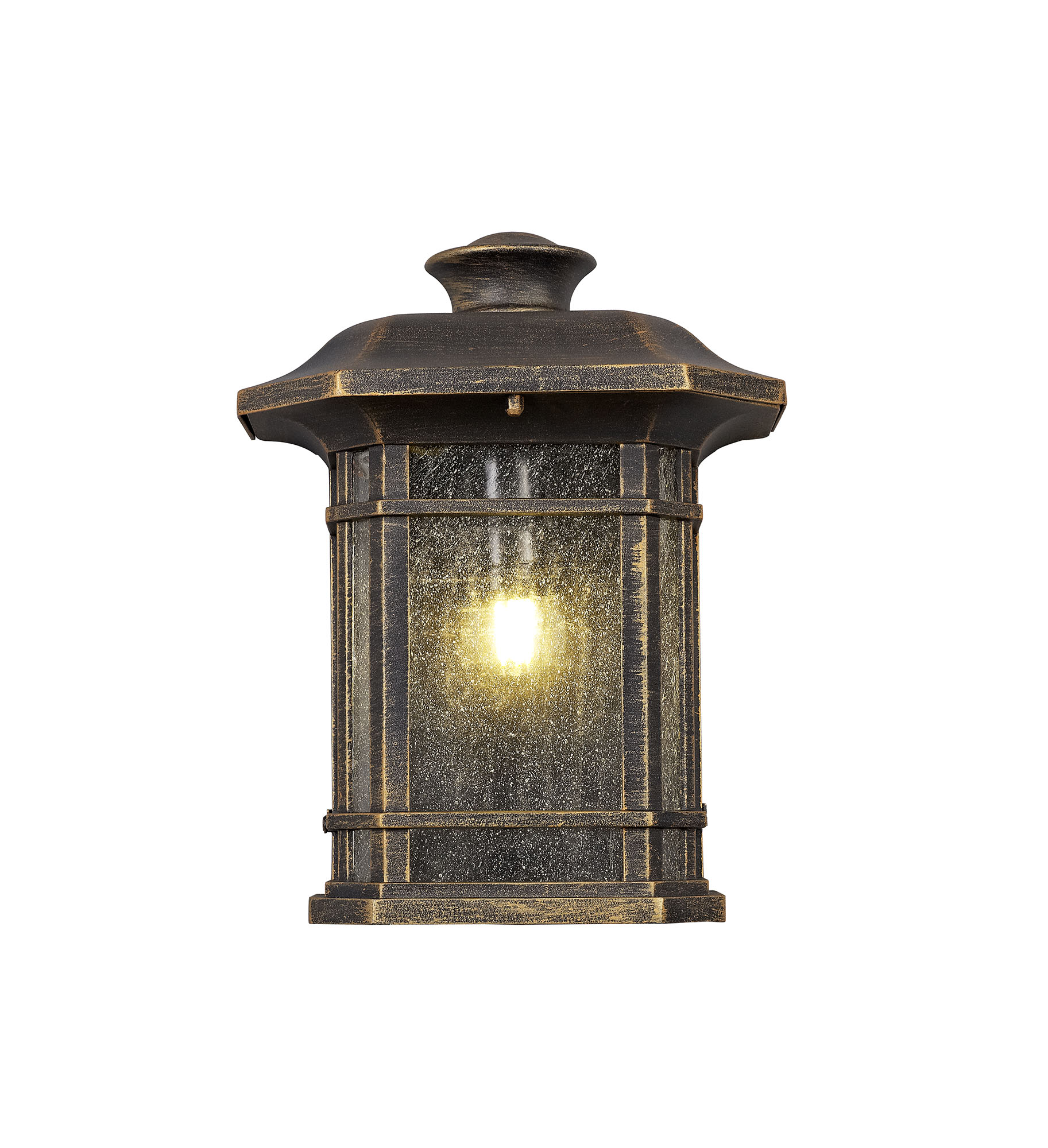 Half Wall Lamp, 1 x E27, Brushed Black Gold/Seeded Glass, IP54, 2yrs Warranty
