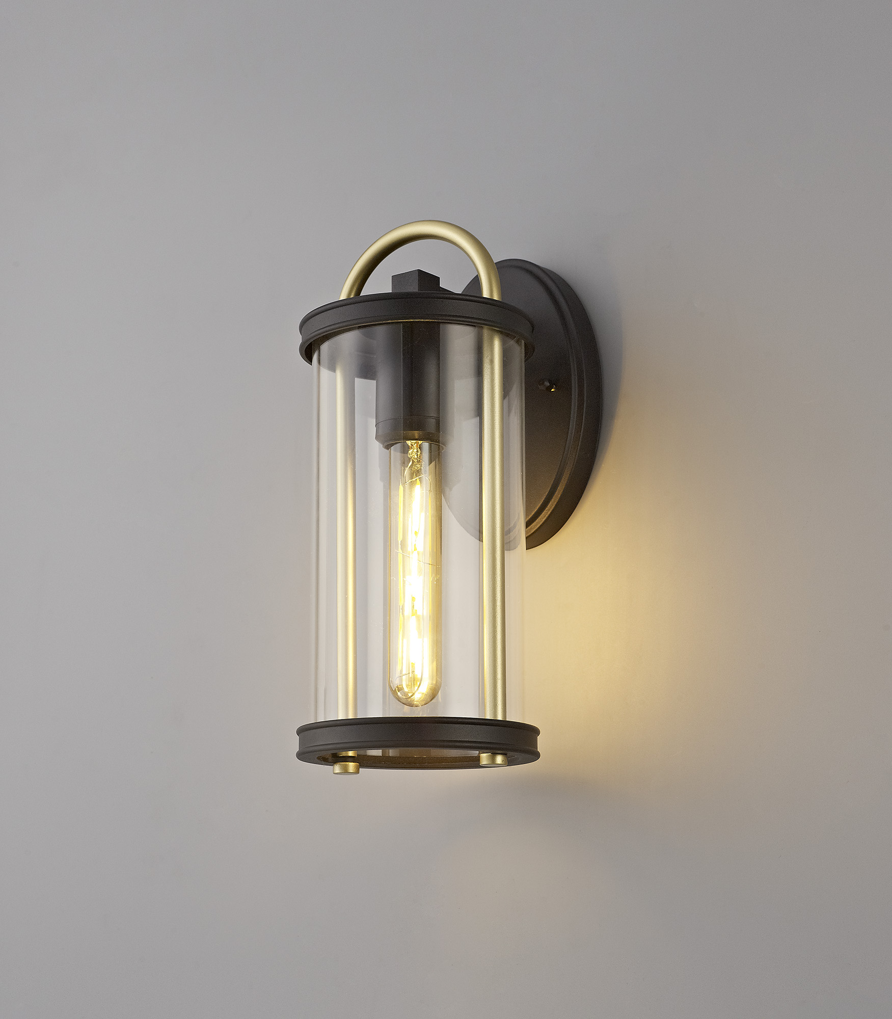 Small Wall Lamp, 1 x E27, Black & Gold/Clear Glass, IP54, 2yrs Warranty