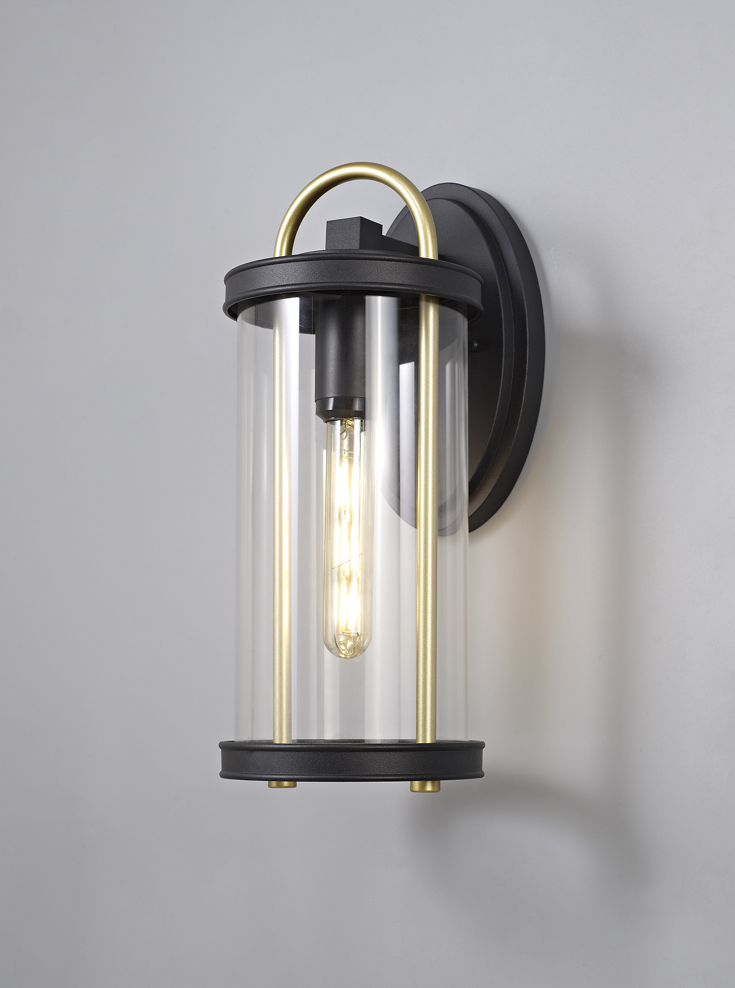 Large Wall Lamp, 1 x E27, Black & Gold/Clear Glass, IP54, 2yrs Warranty