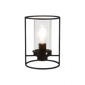 Table Lamp, 1 Light E27, Black/Clear Glass
