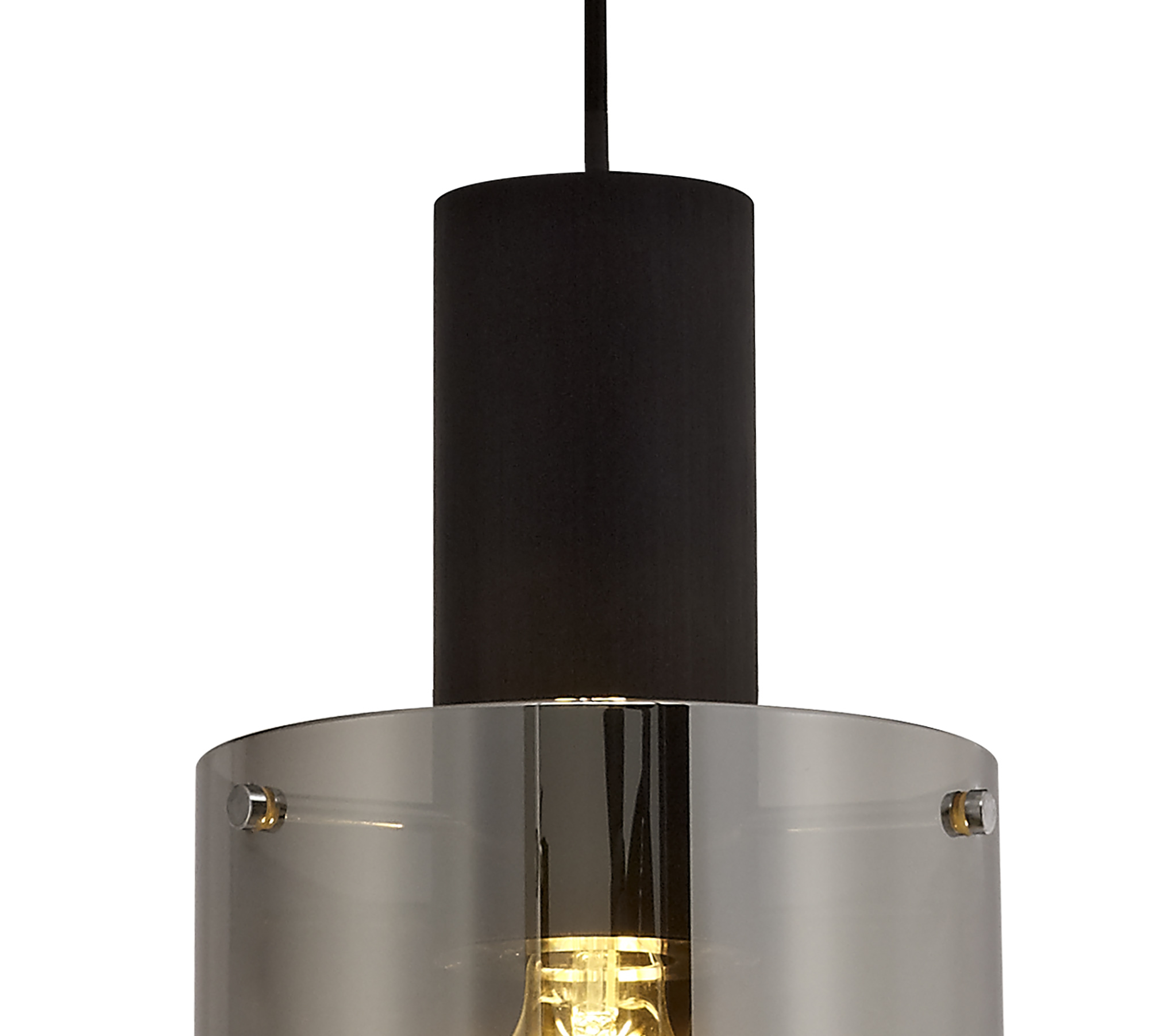 simple Pendant, 1 Light Adjustable E27, Black/Smoke Fade Glass