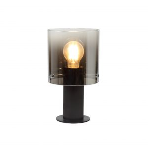Table Lamp, 1 Light Table Lamp E27, Black/Smoke Fade Glass