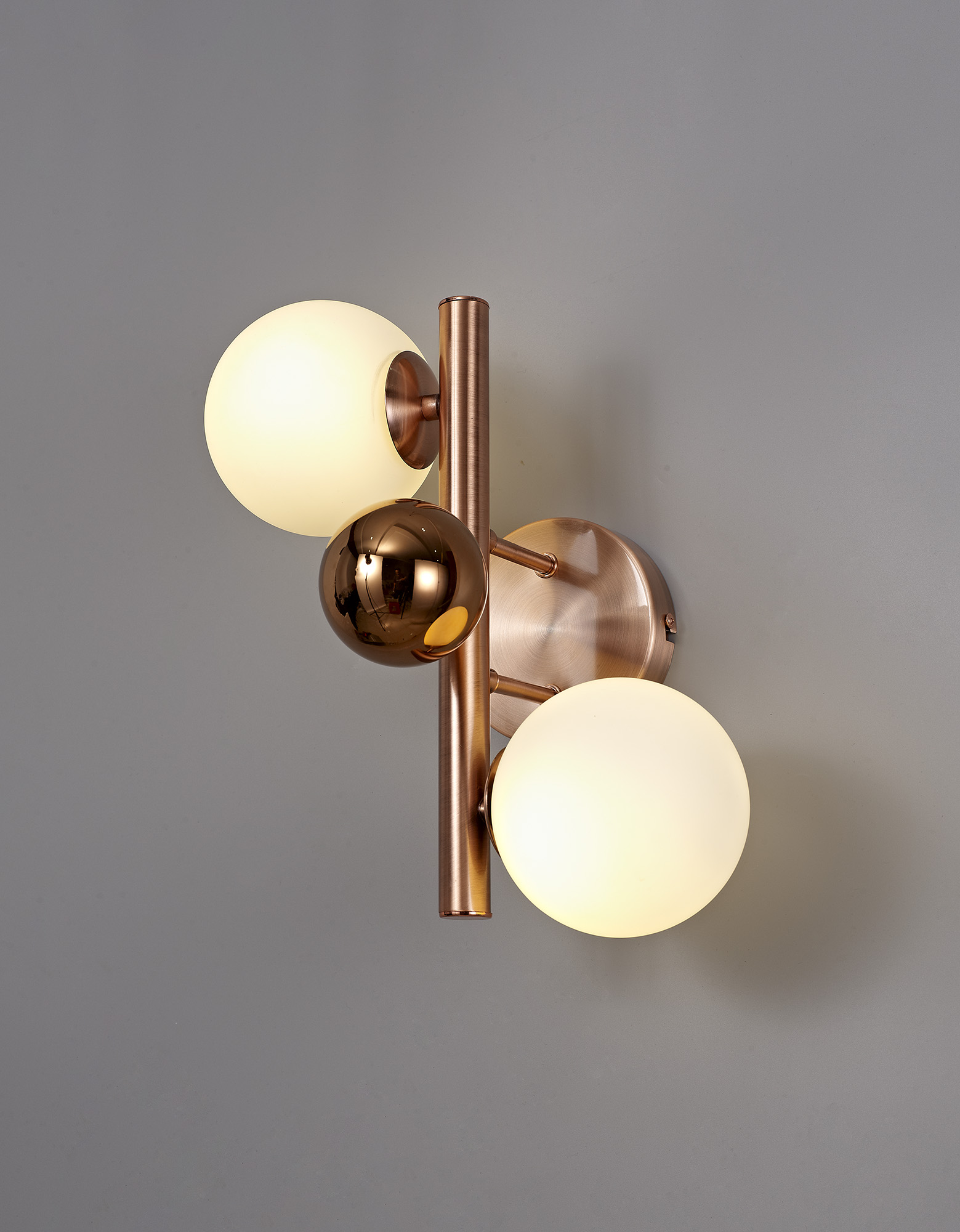 Wall Lamp, 2 x G9, Antique Copper/Opal & Copper Glass
