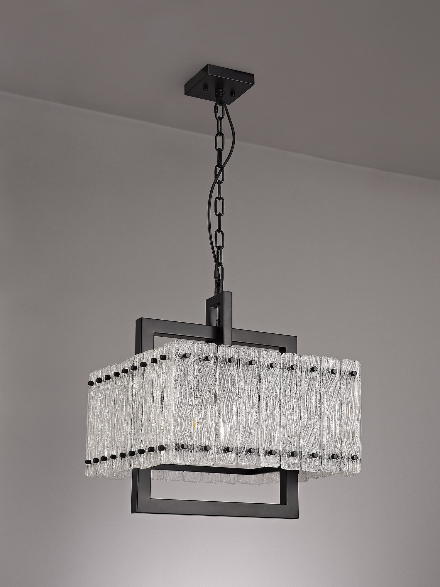Large Square Pendant, 5 Light E27, Matt Black/Crystal Sand Glass