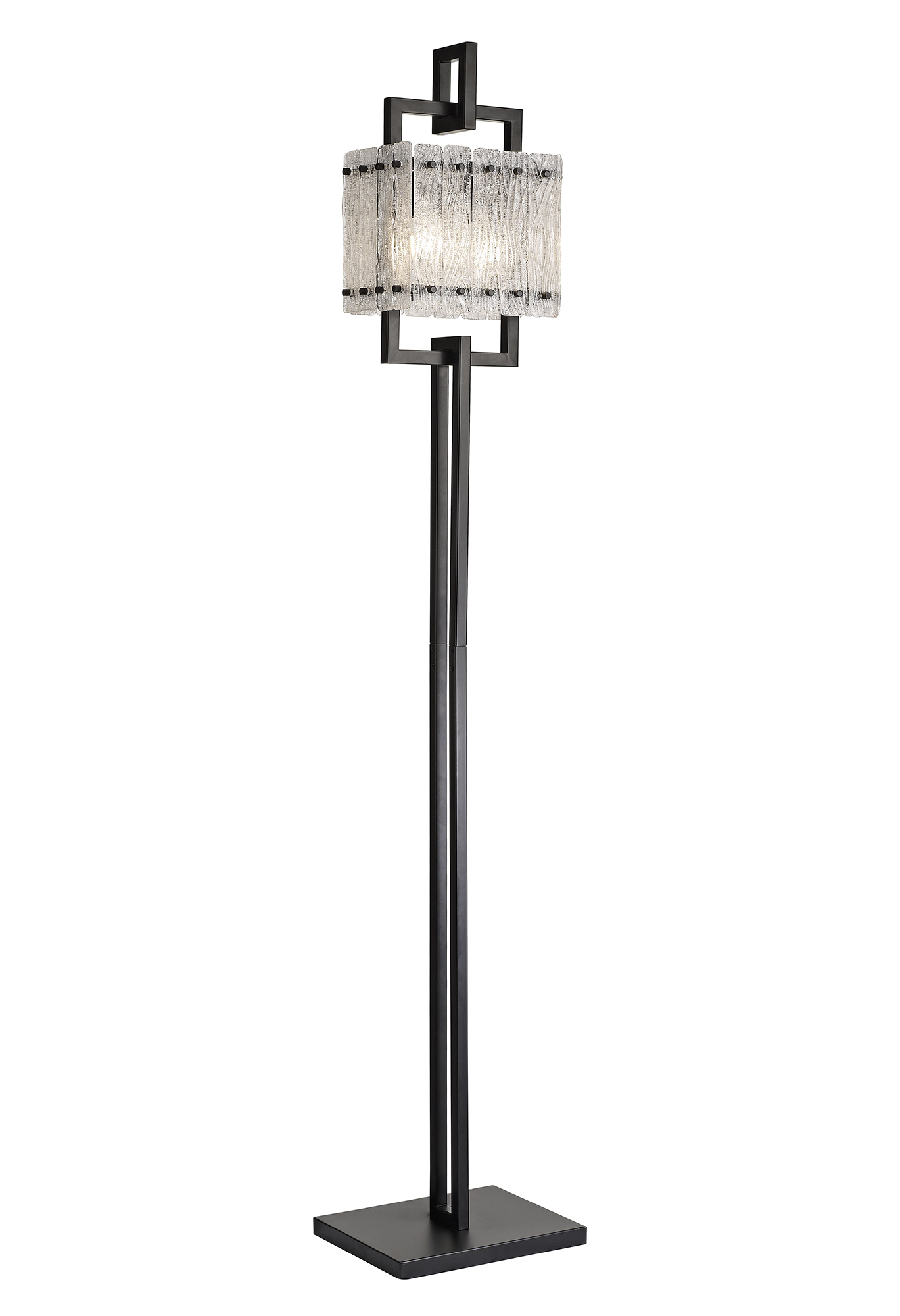 Floor Lamp, 2 Light E27, Matt Black/Crystal Sand Glass